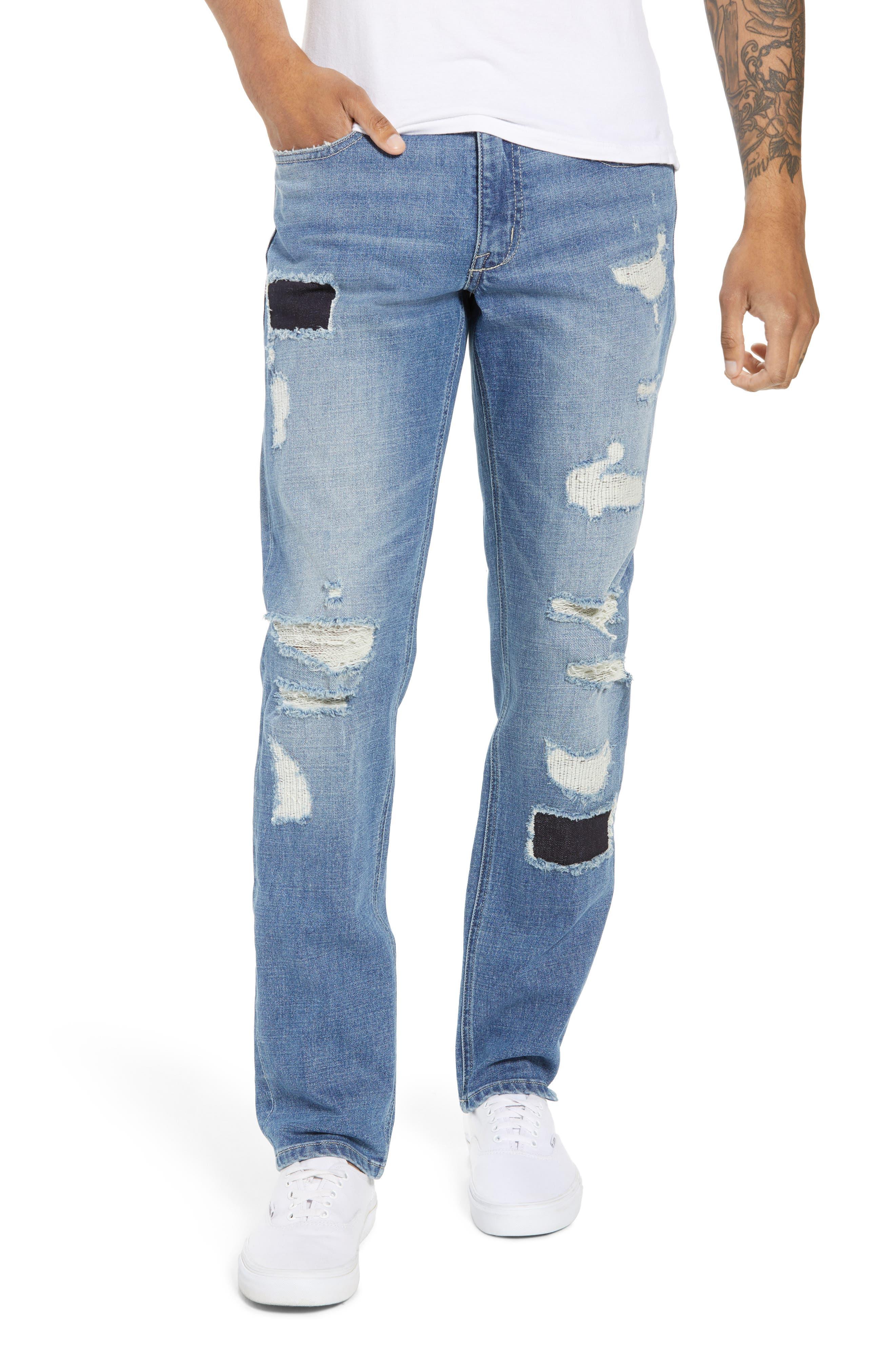 Rip & Repair Stretch Slim Jeans,                         Main,                         color, BLUE HETFIELD WASH