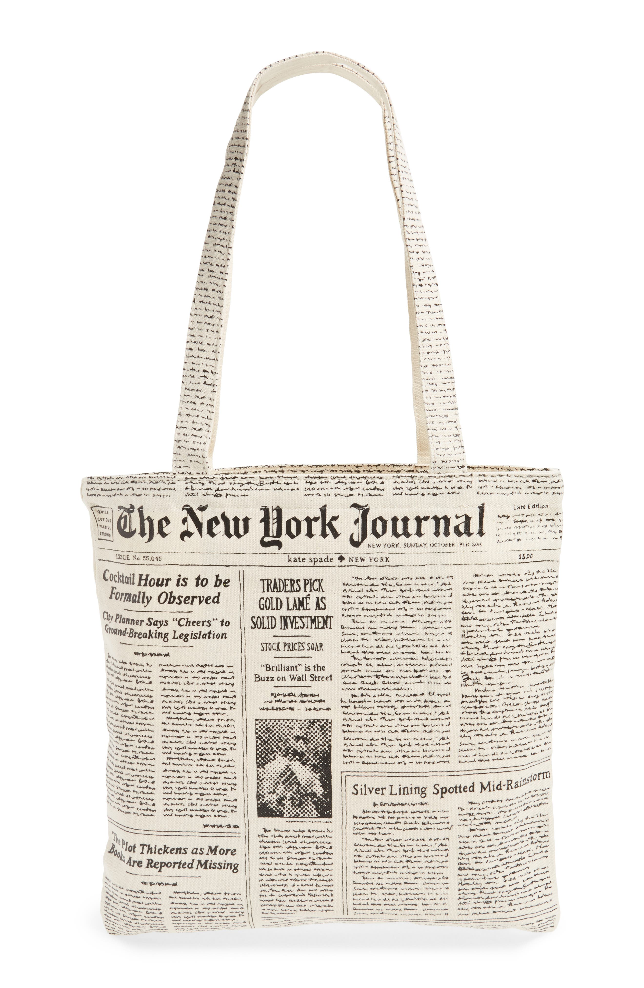 newspaper print canvas shopping tote,                             Alternate thumbnail 4, color,                             001