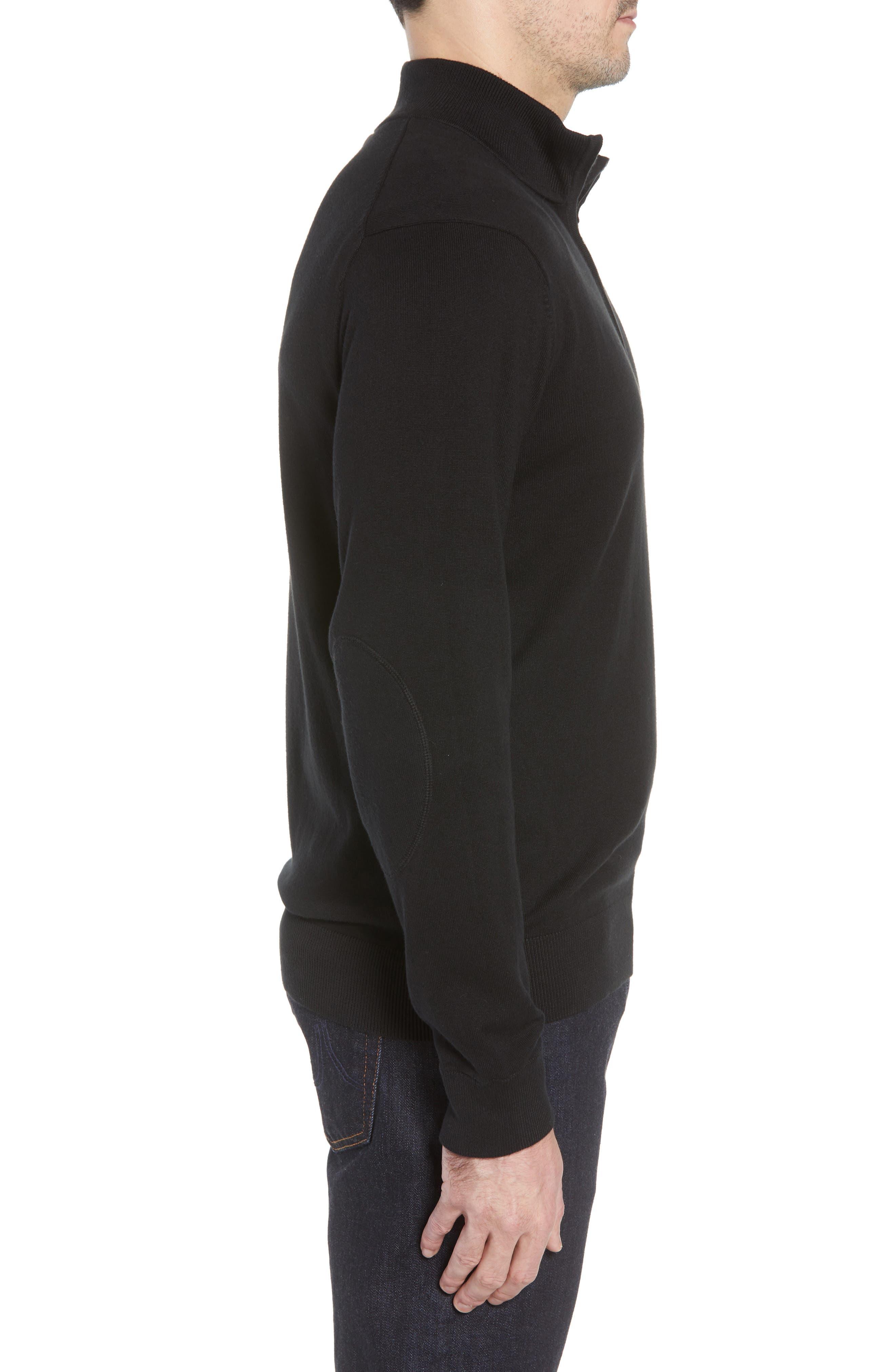 Washington - Lakemont Regular Fit Quarter Zip Sweater,                             Alternate thumbnail 3, color,                             BLACK
