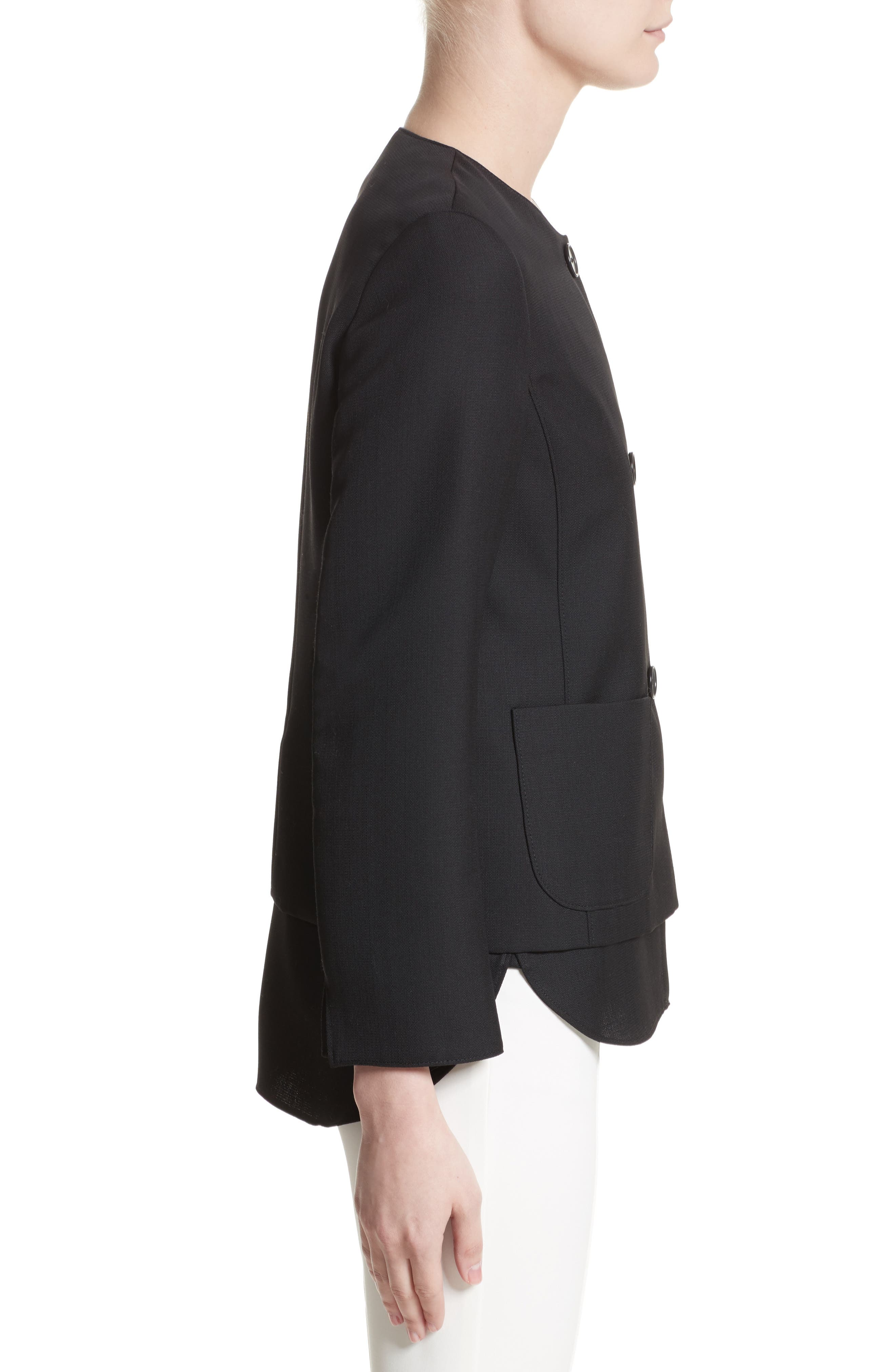 Wool Jacket with Detachable Hem,                             Alternate thumbnail 3, color,                             009