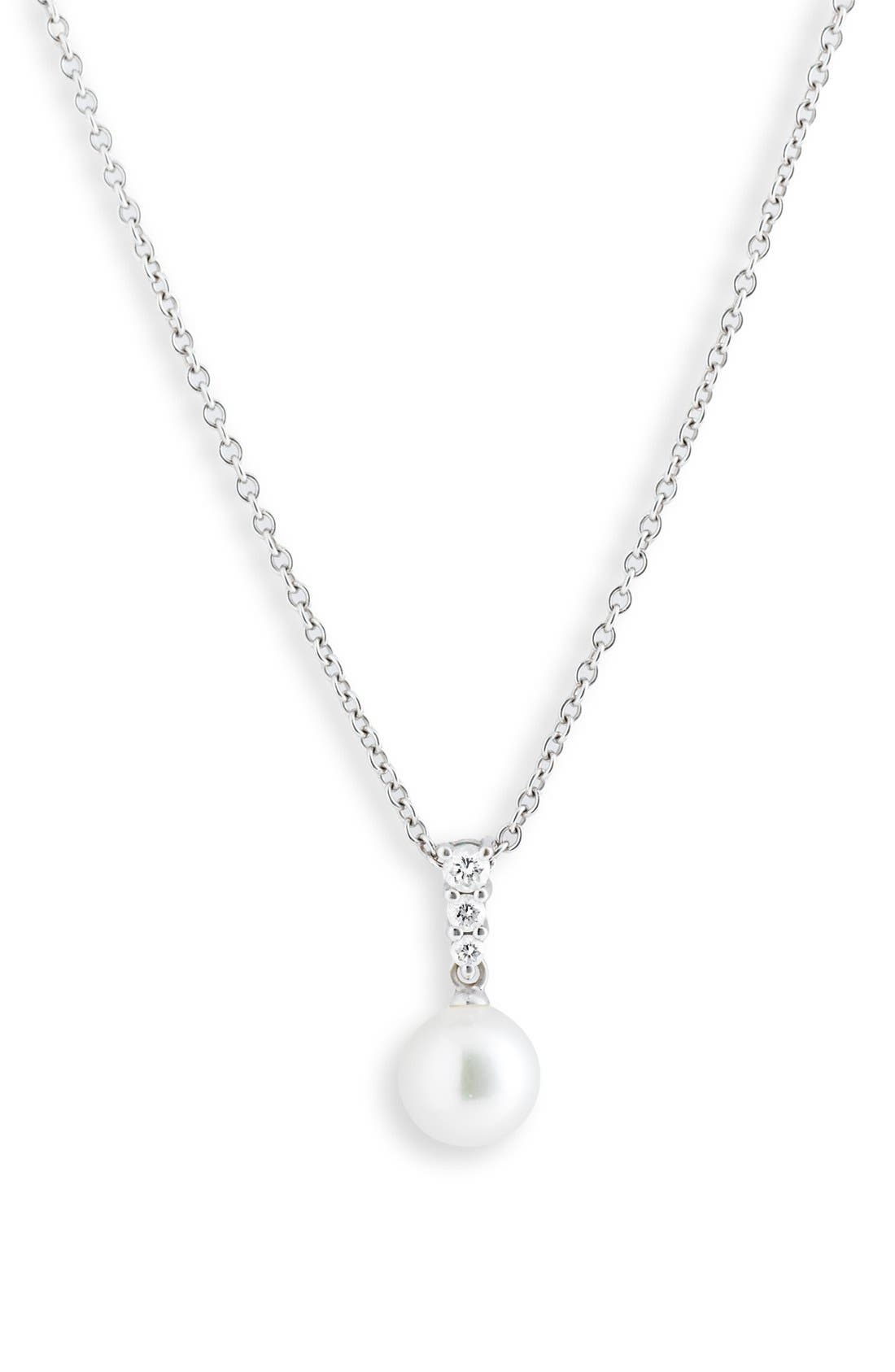 'Morning Dew' Akoya Cultured Pearl & Diamond Pendant Necklace,                             Main thumbnail 1, color,                             WHITE GOLD