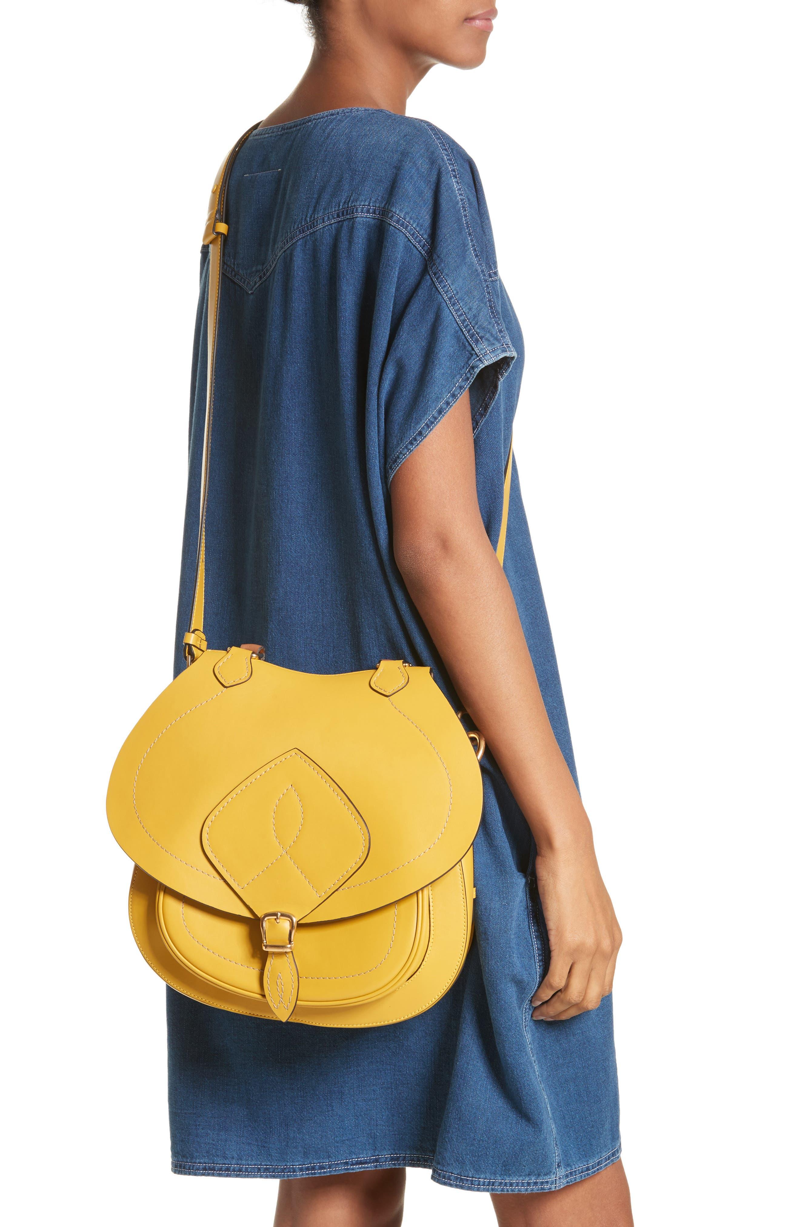 Large Bag Slide Leather Saddle Bag,                             Alternate thumbnail 2, color,                             YELLOW