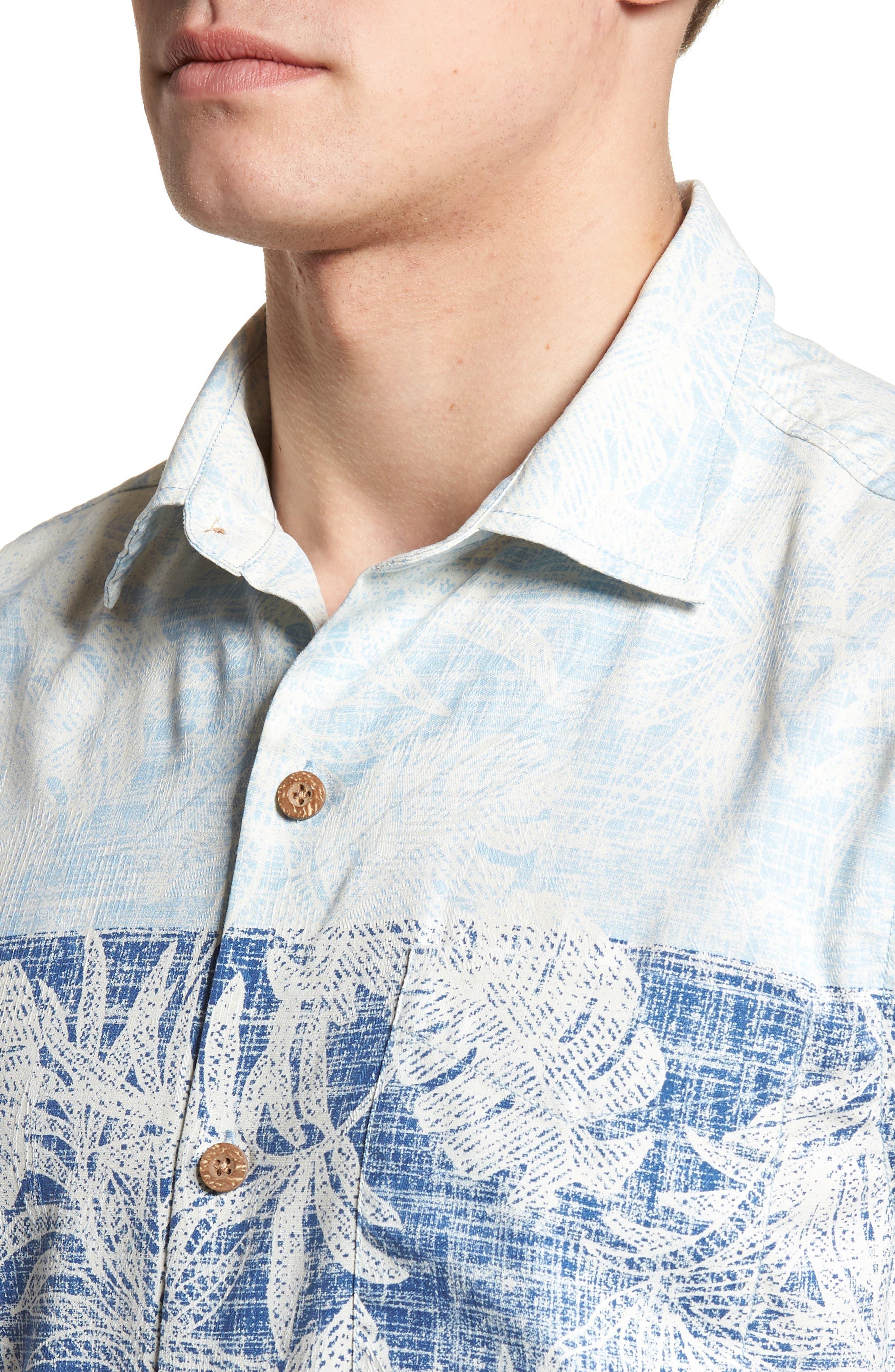 Regular Fit Rising Tides Silk Blend Sport Shirt,                             Alternate thumbnail 4, color,