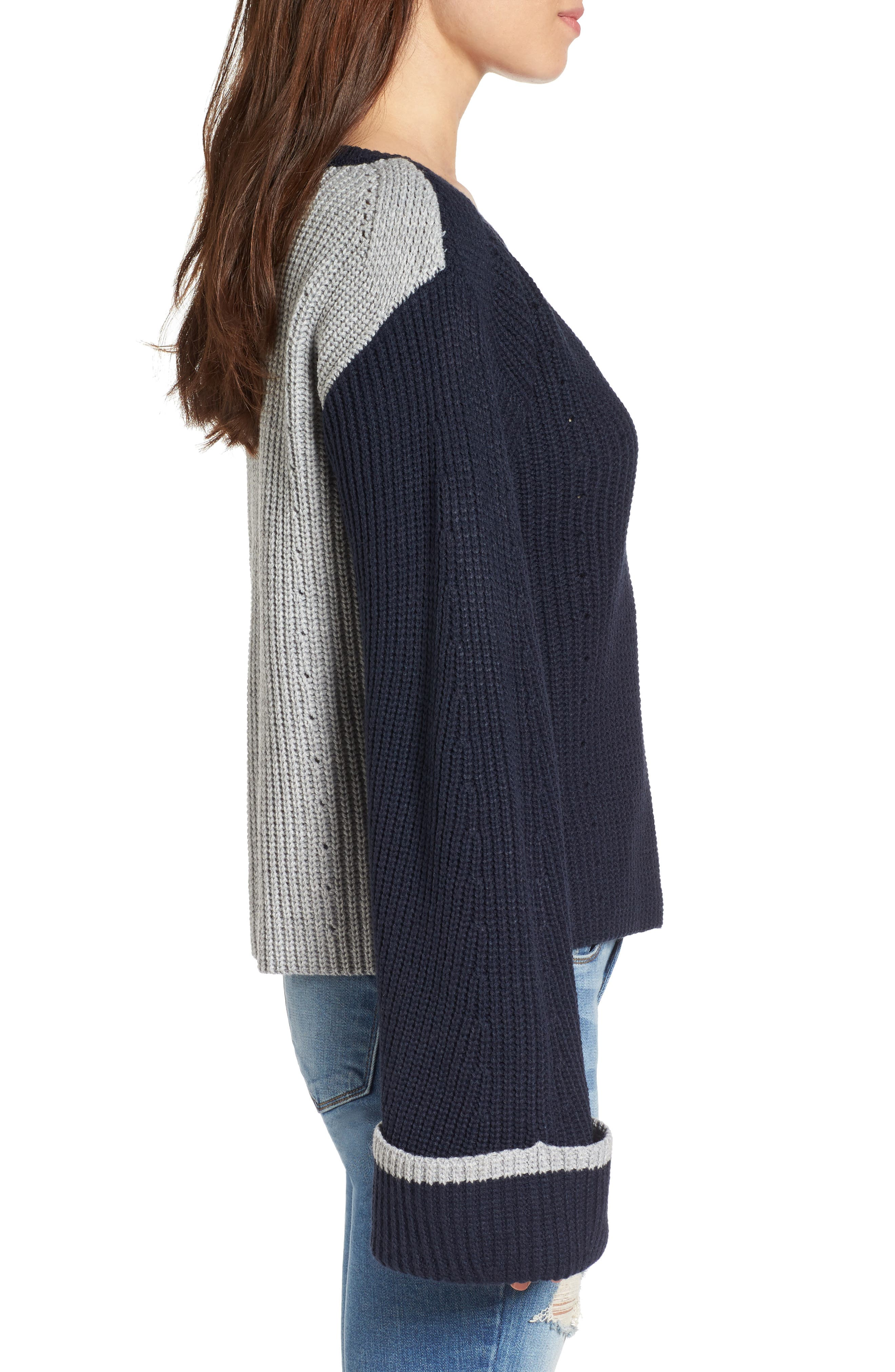 Colorblock Bell Sleeve Sweater,                             Alternate thumbnail 3, color,