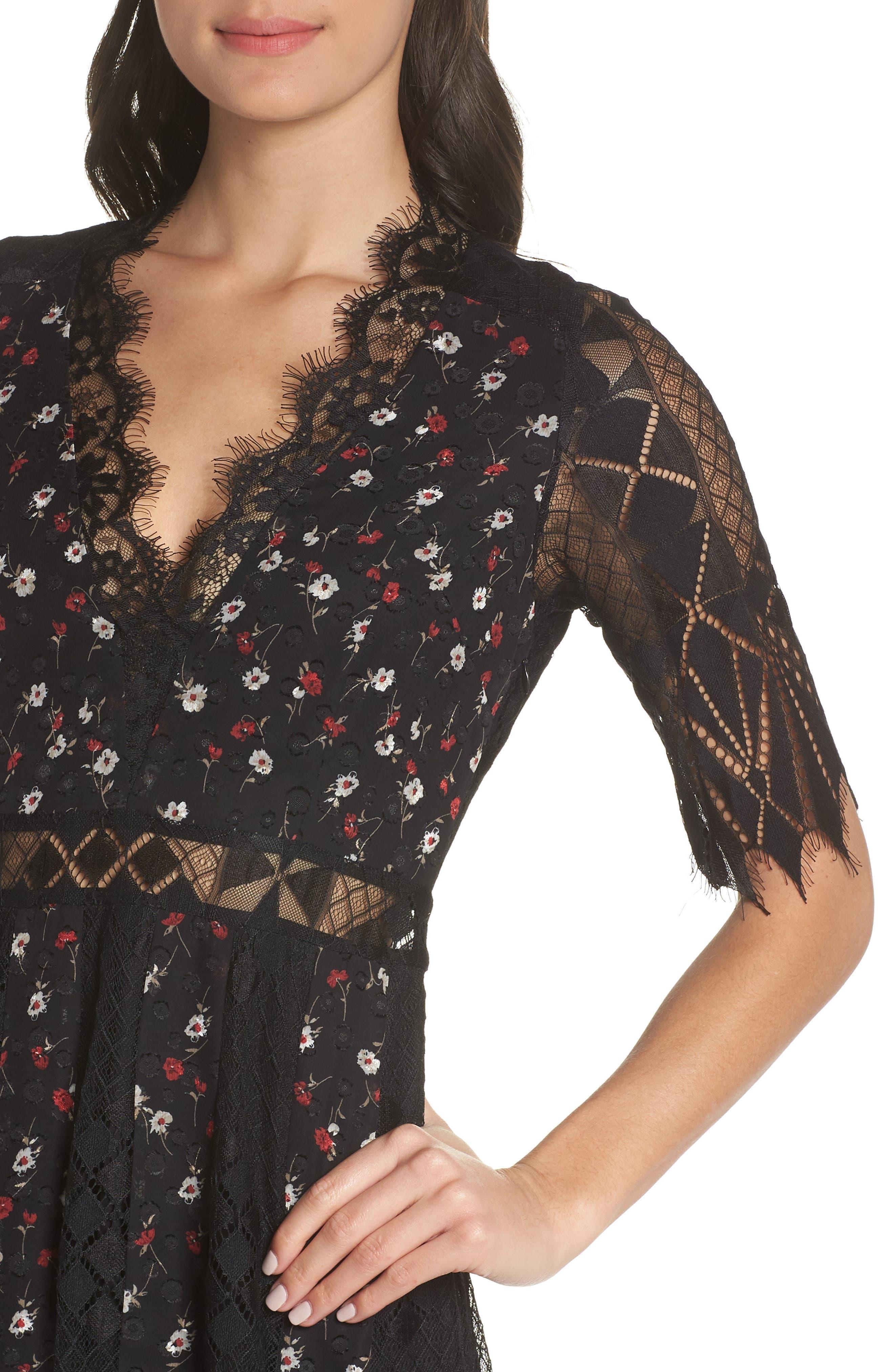 Josefine Lace & Clip Dot Tea Length Dress,                             Alternate thumbnail 4, color,                             BLACK MULTI