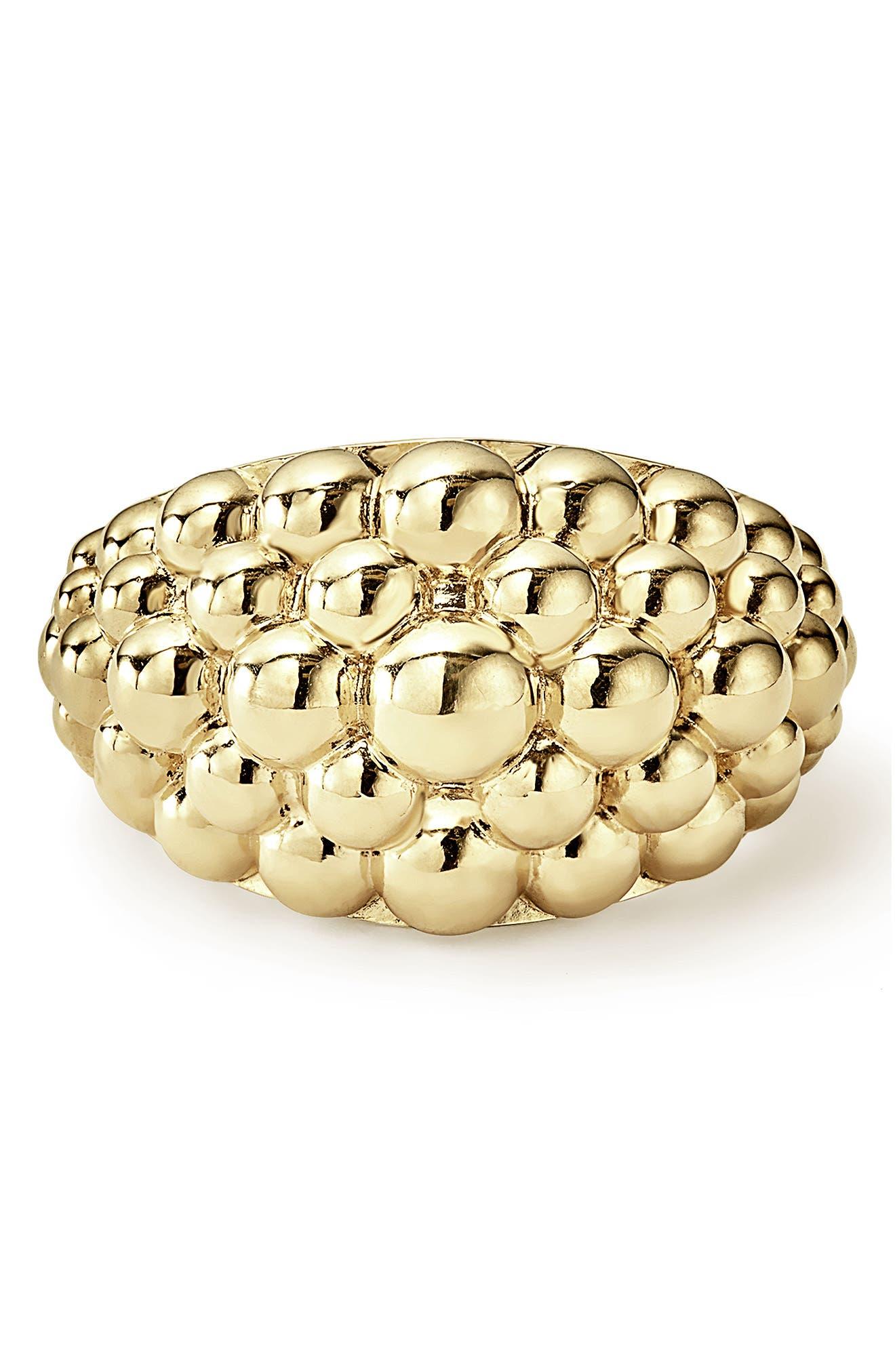 LAGOS,                             Caviar Gold Bold Dome Ring,                             Alternate thumbnail 5, color,                             GOLD