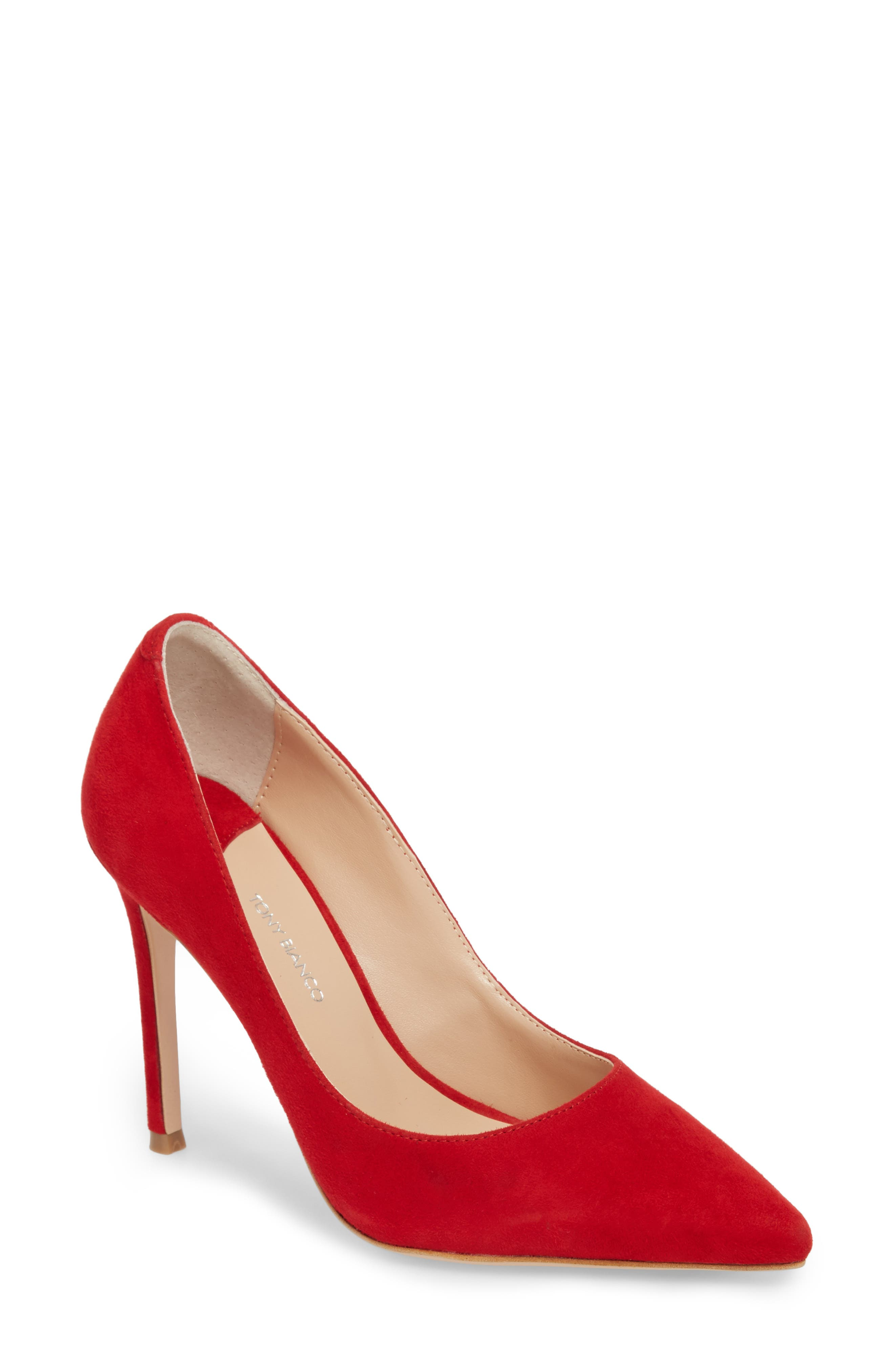 Lotus Pointy Toe Pump,                             Main thumbnail 1, color,                             FIRE SUEDE