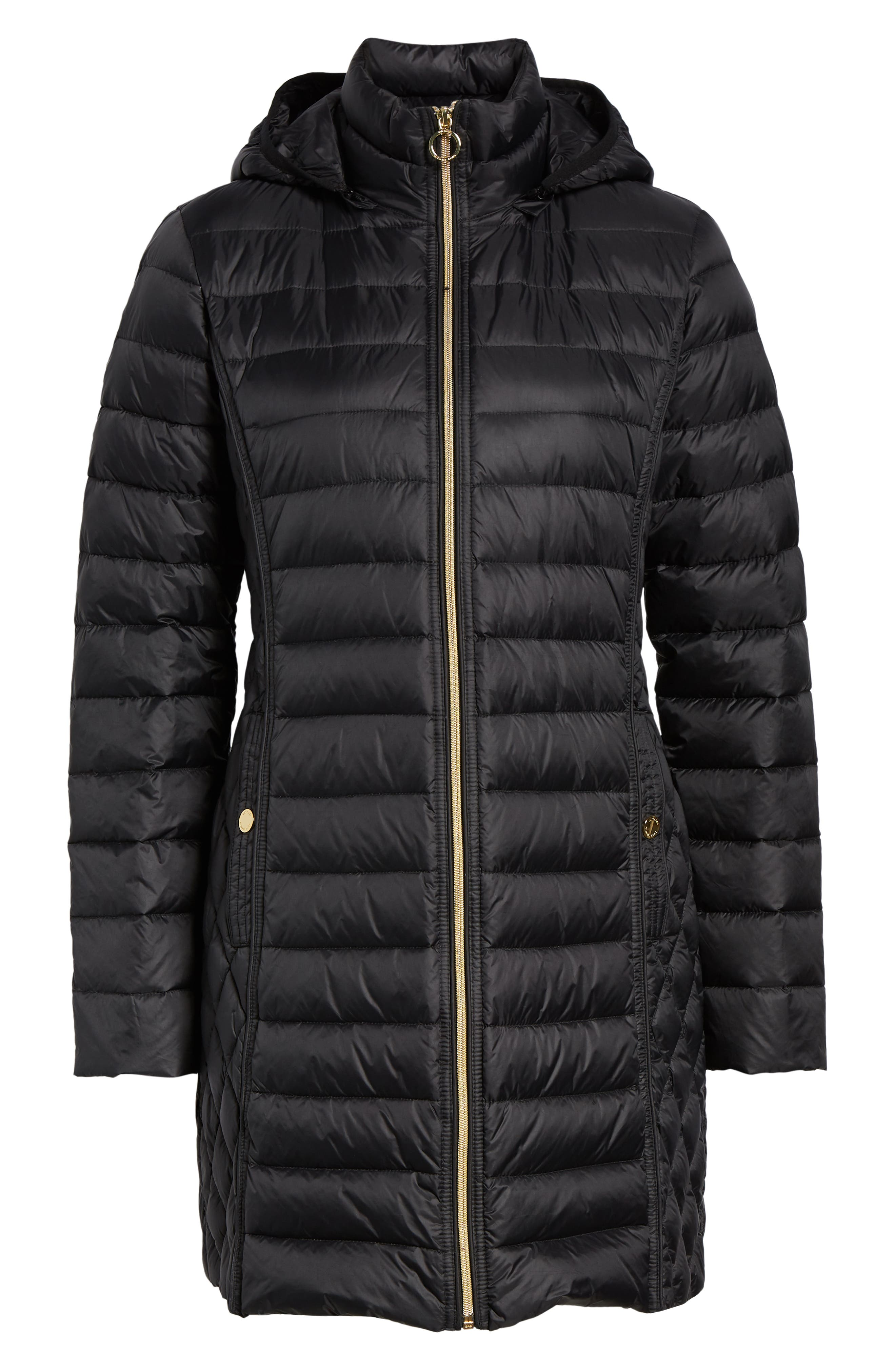 Packable Down Puffer Jacket,                             Alternate thumbnail 6, color,                             BLACK