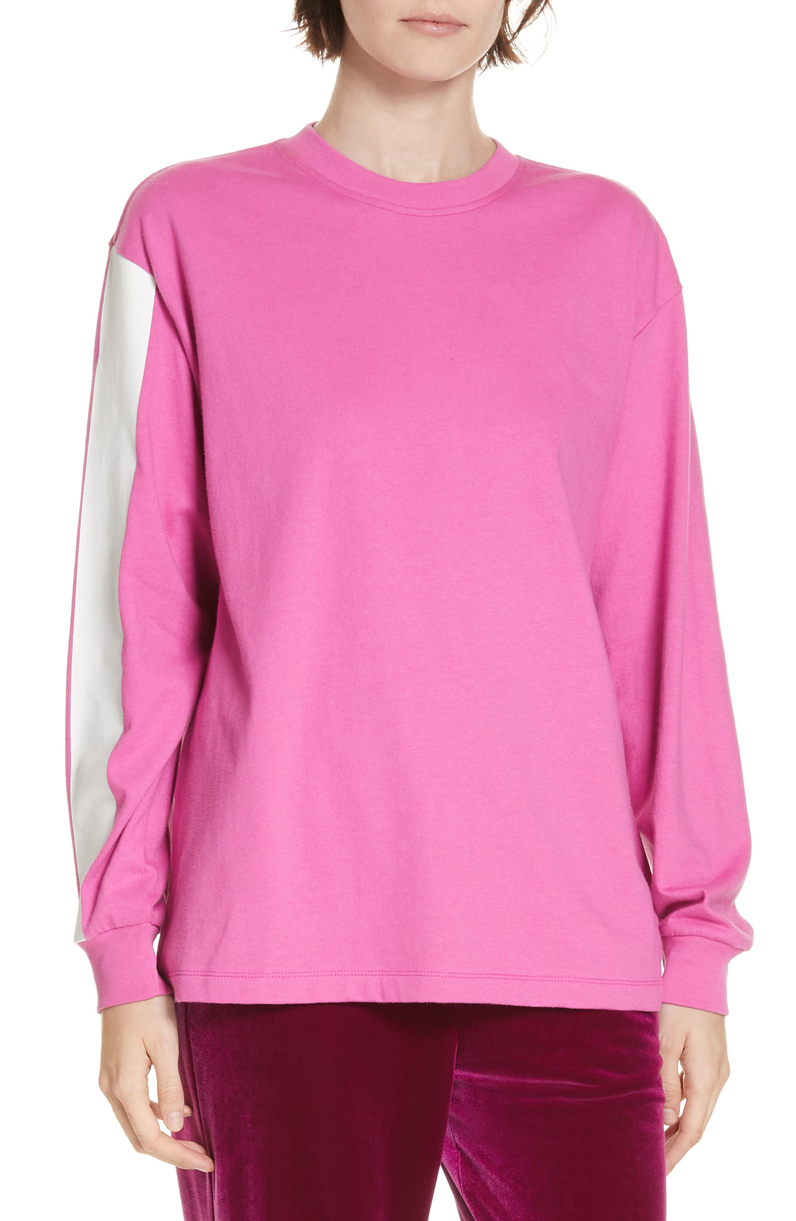 Tibi Stripe Sleeve Tee, Pink