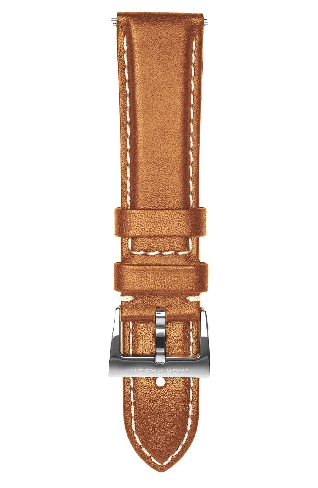 Leather Watch Strap, 22mm,                         Main,                         color, TAN