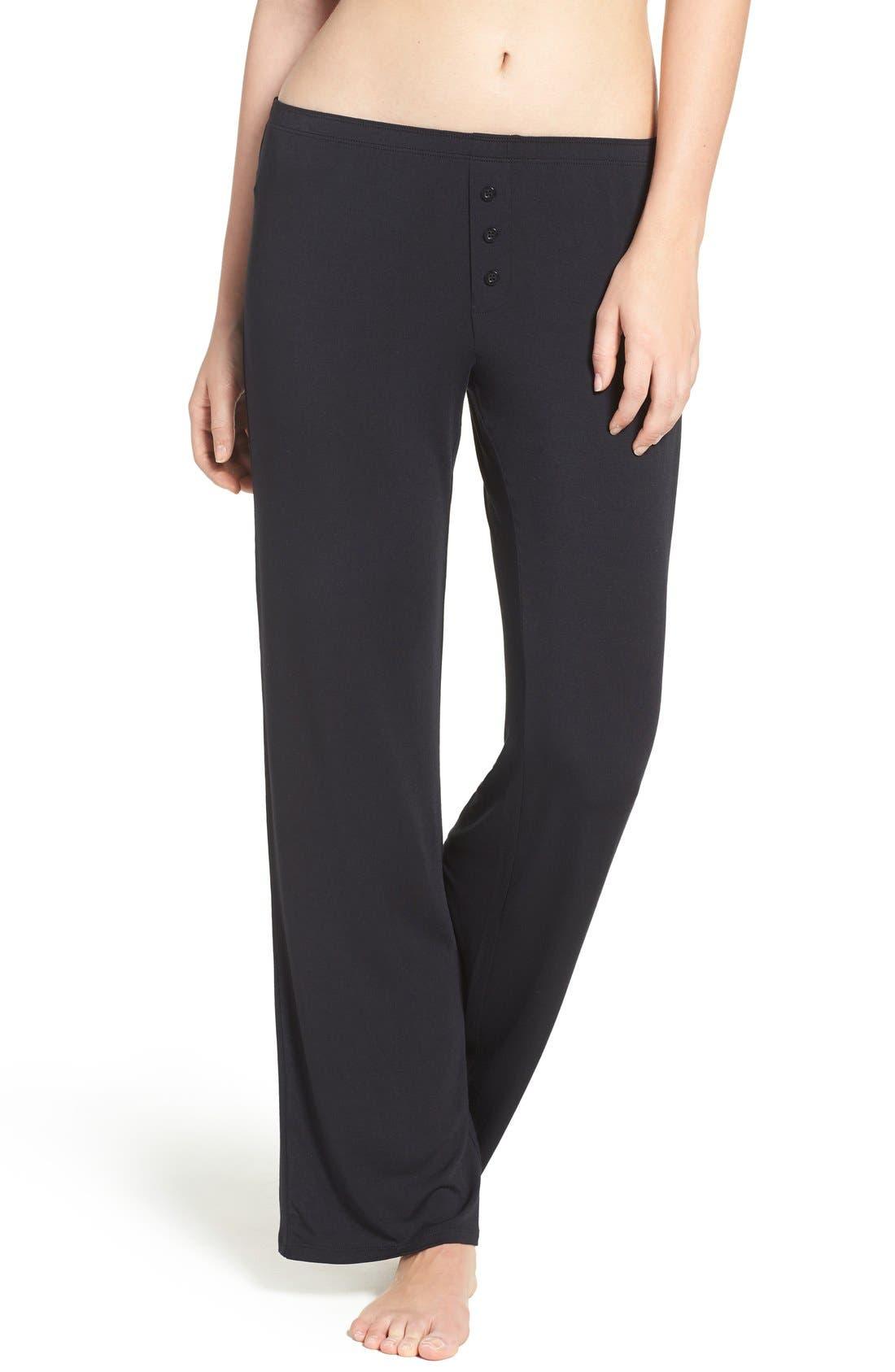 Jersey Pajama Pants,                             Main thumbnail 1, color,                             BLACK