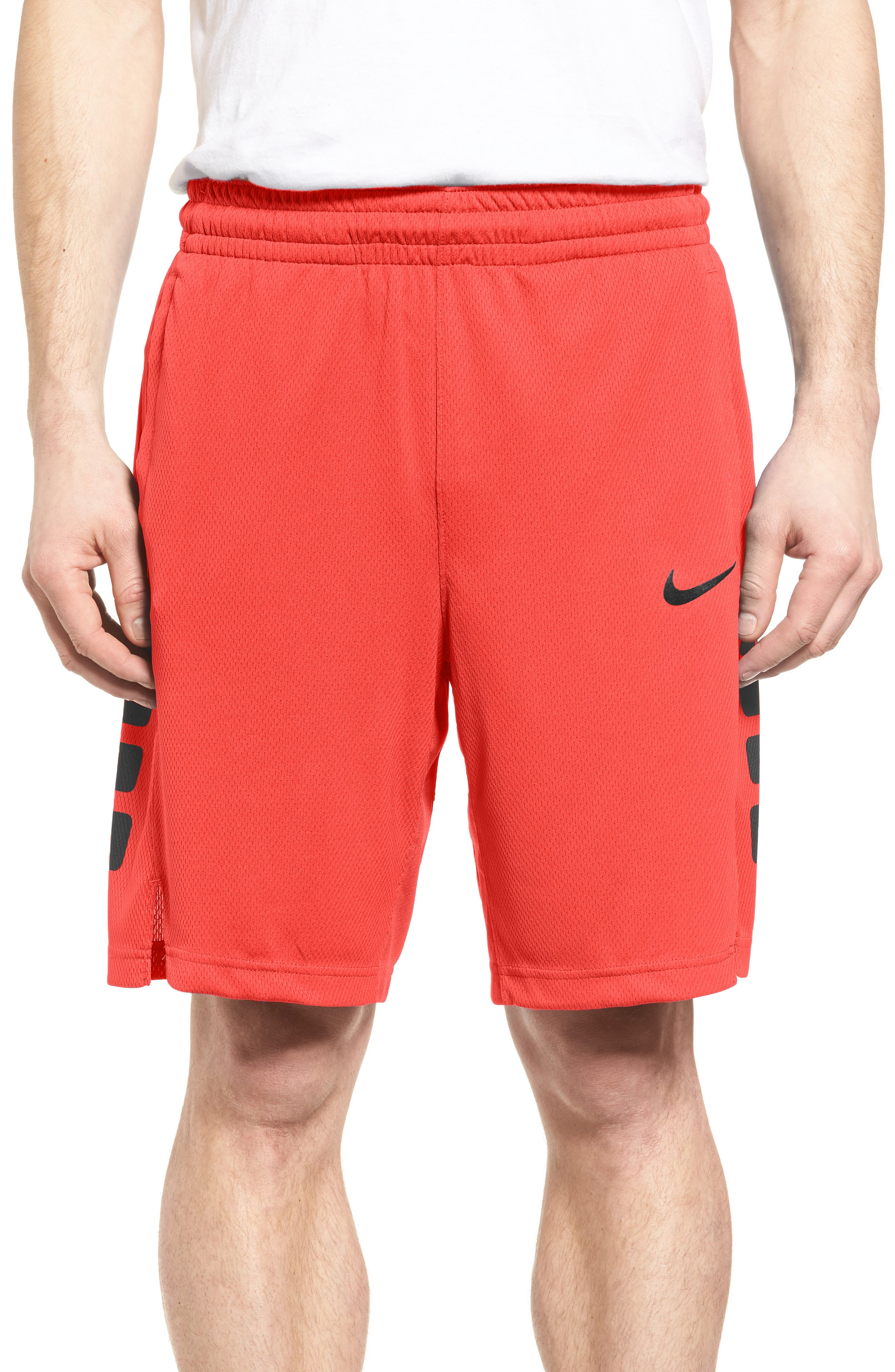 Elite Stripe Basketball Shorts,                         Main,                         color, UNIVERSITY RED/ BLACK