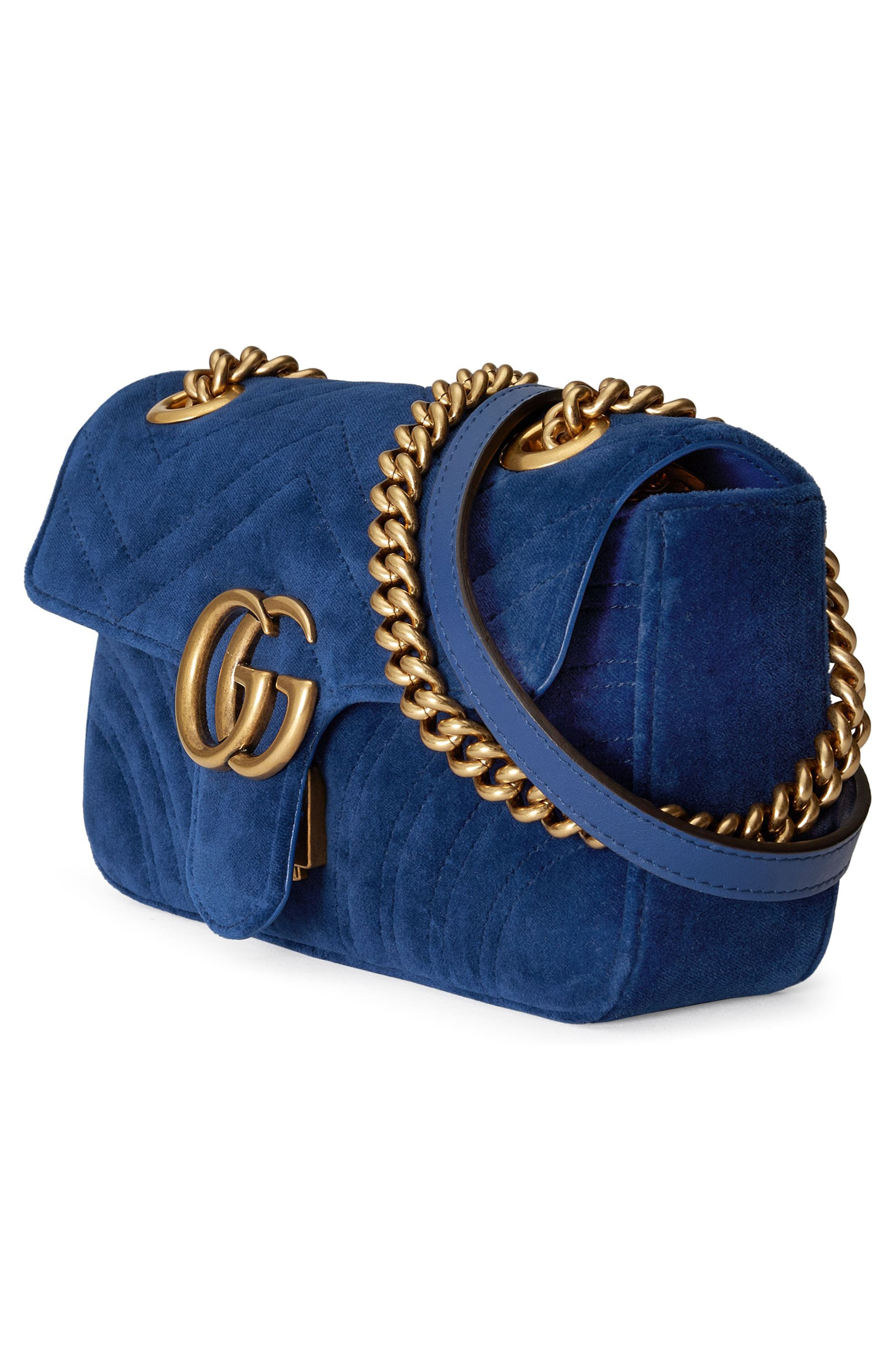 Small GG Marmont 2.0 Matelassé Velvet Shoulder Bag,                             Alternate thumbnail 4, color,                             COBALT