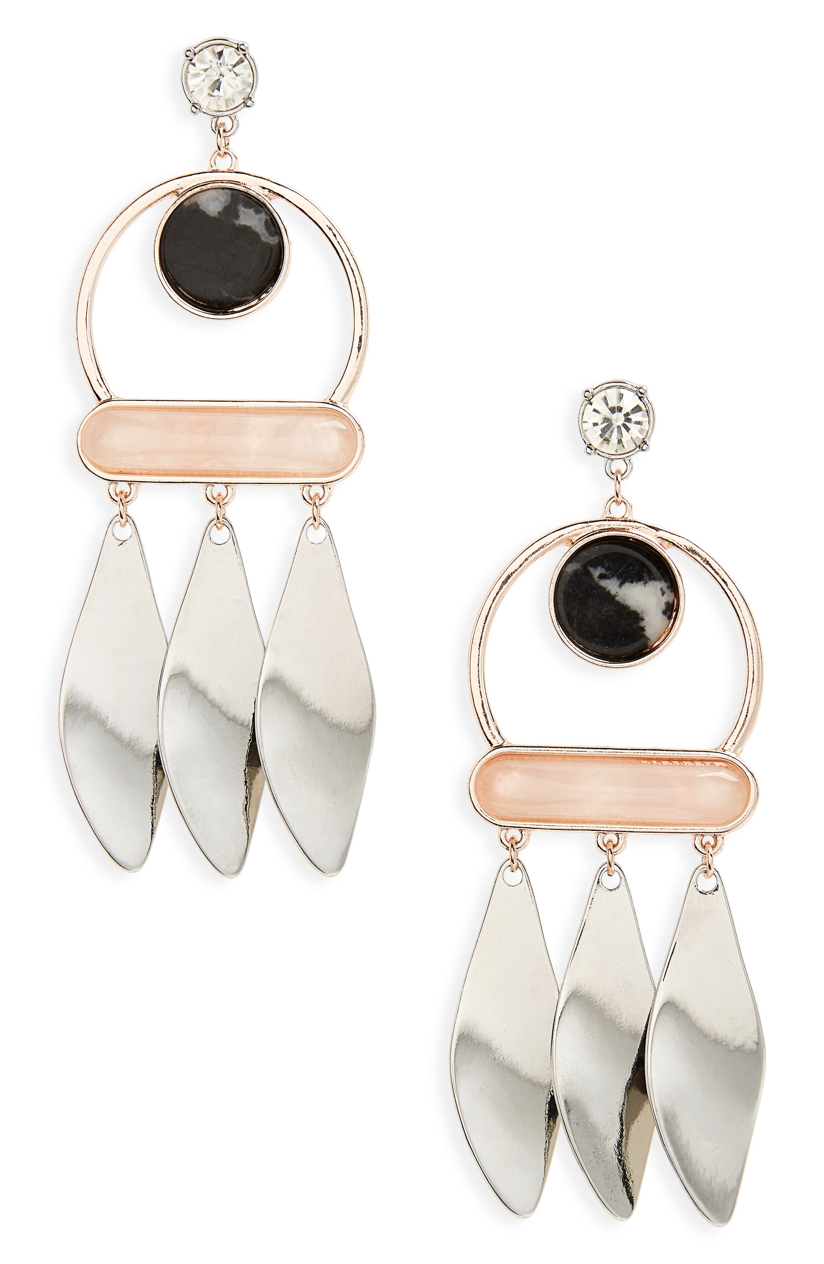 Zebra Mix Metal Drop Earrings,                             Main thumbnail 1, color,                             001