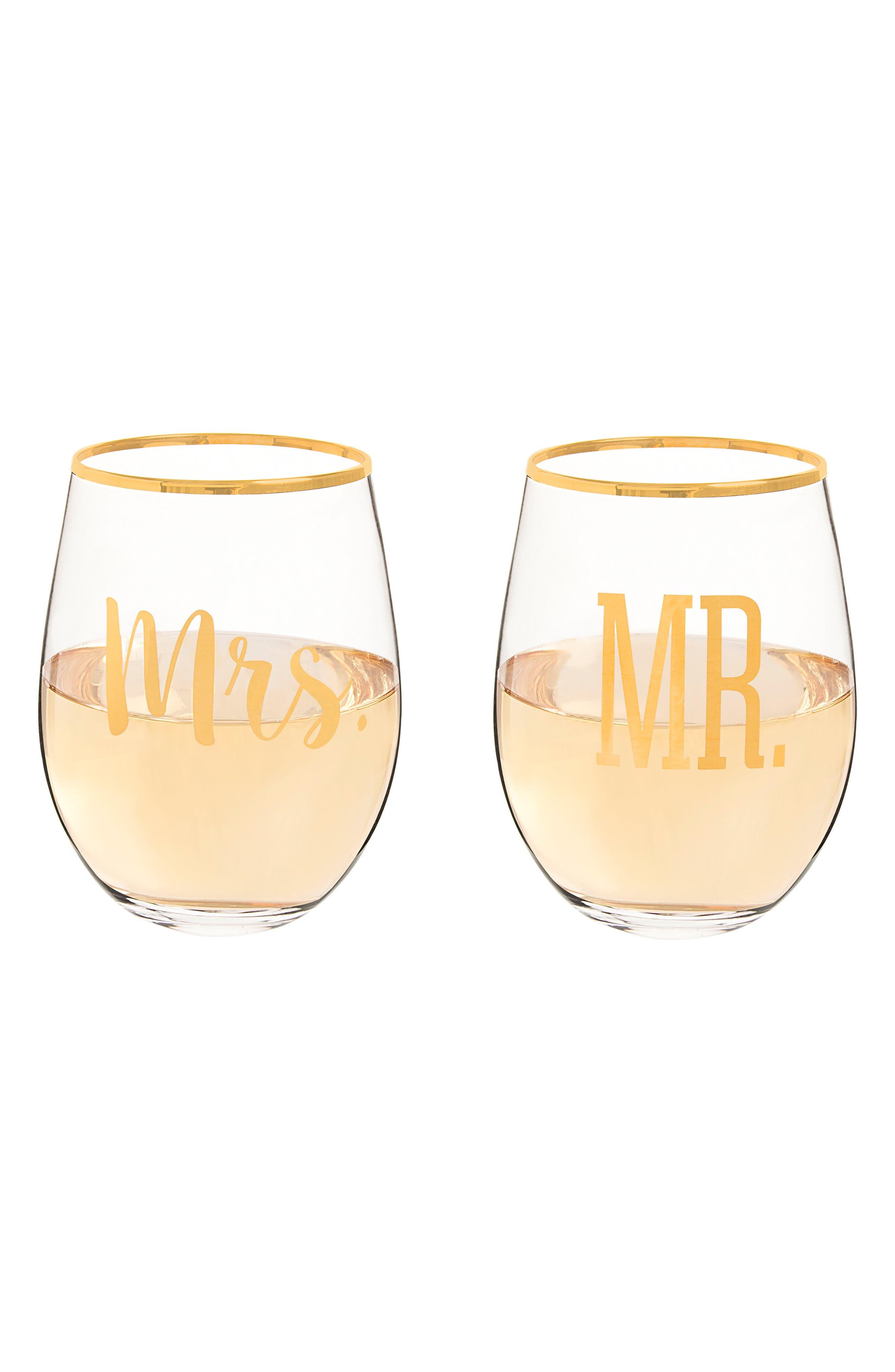 Mr. & Mrs. Set of 2 Stemless Wine Glasses,                             Alternate thumbnail 3, color,                             710