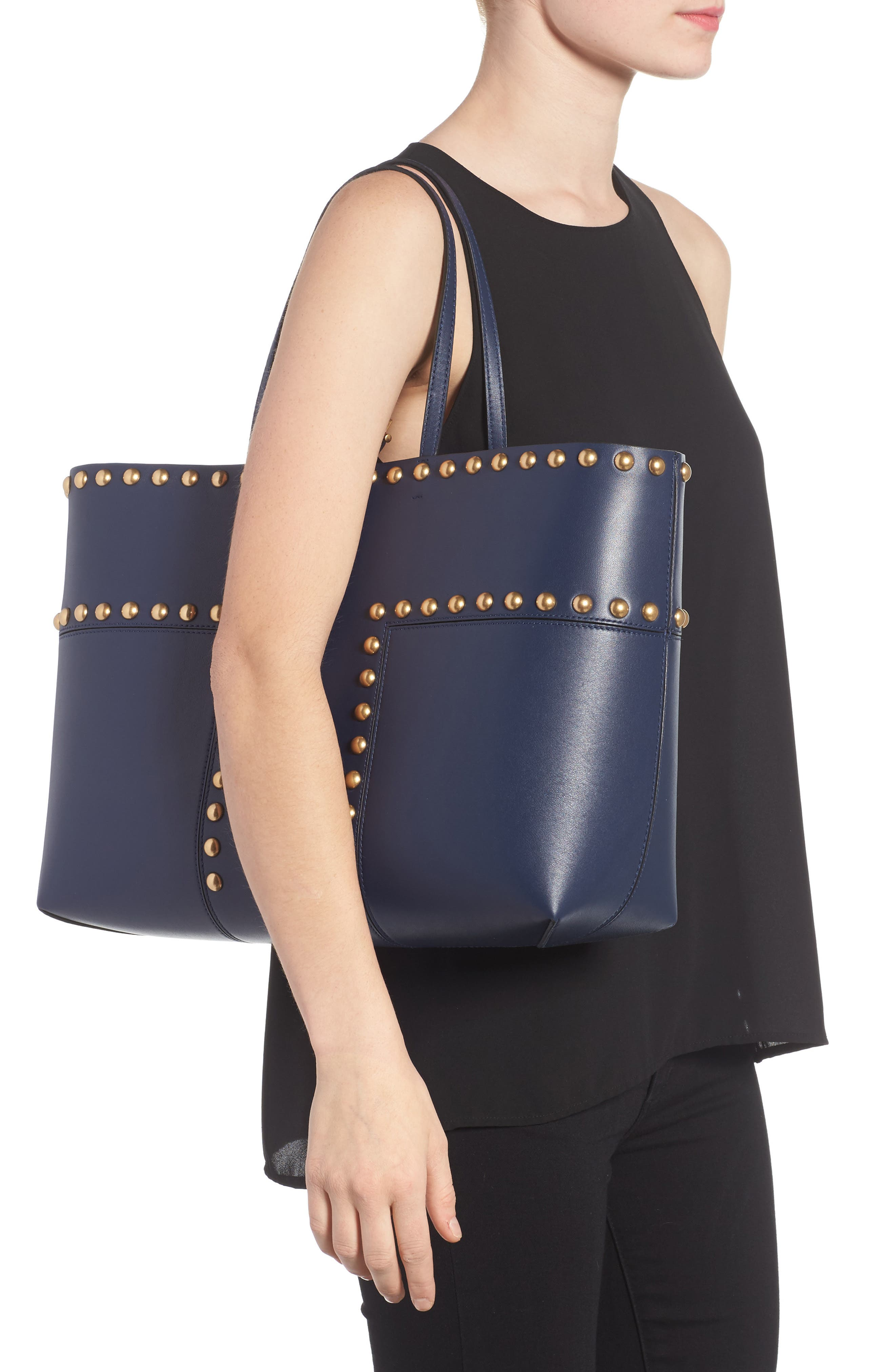 Block-T Studded Leather Tote,                             Alternate thumbnail 4, color,