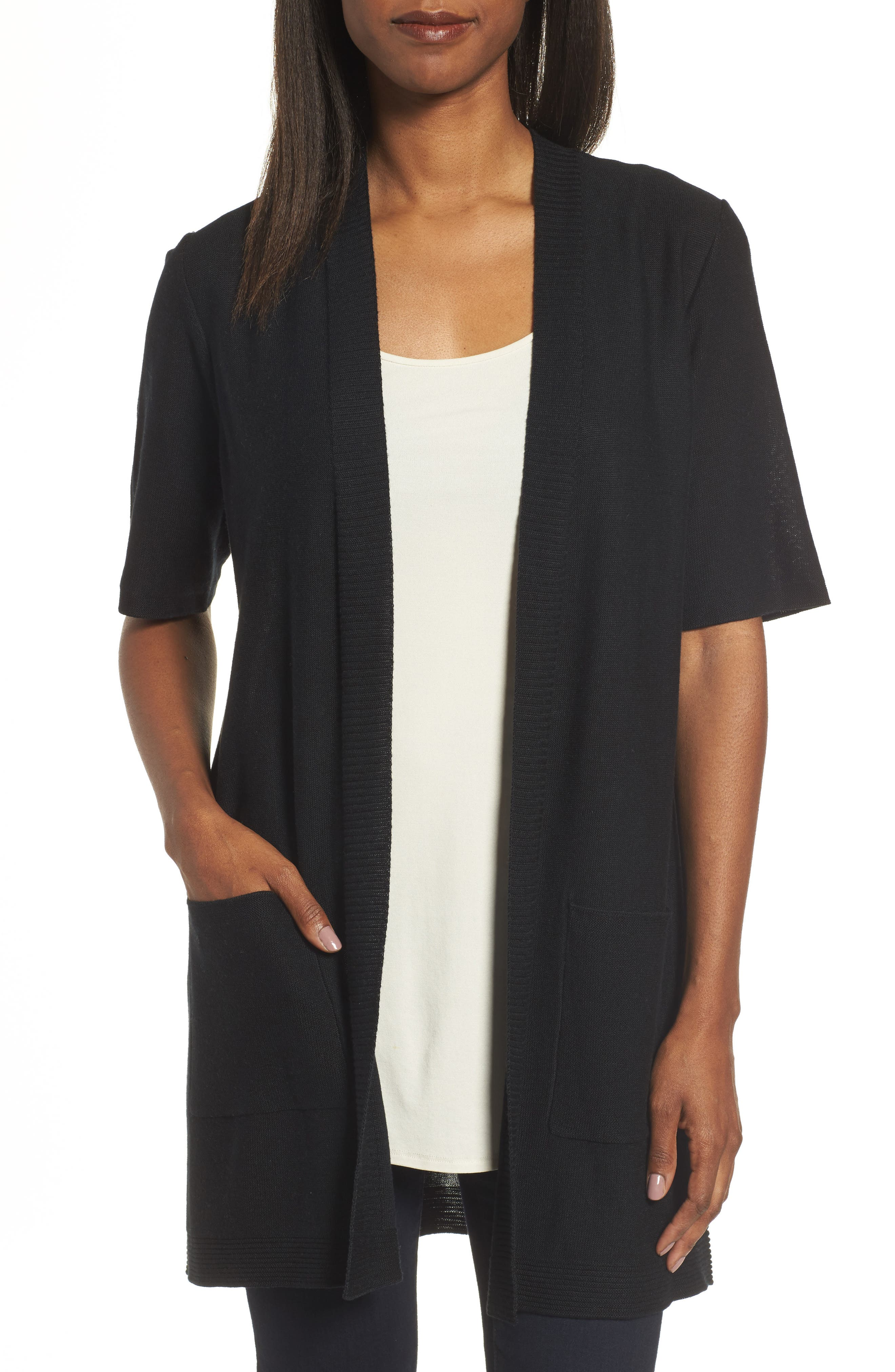 Simple Tencel<sup>®</sup> & Merino Wool Cardigan,                         Main,                         color, 001