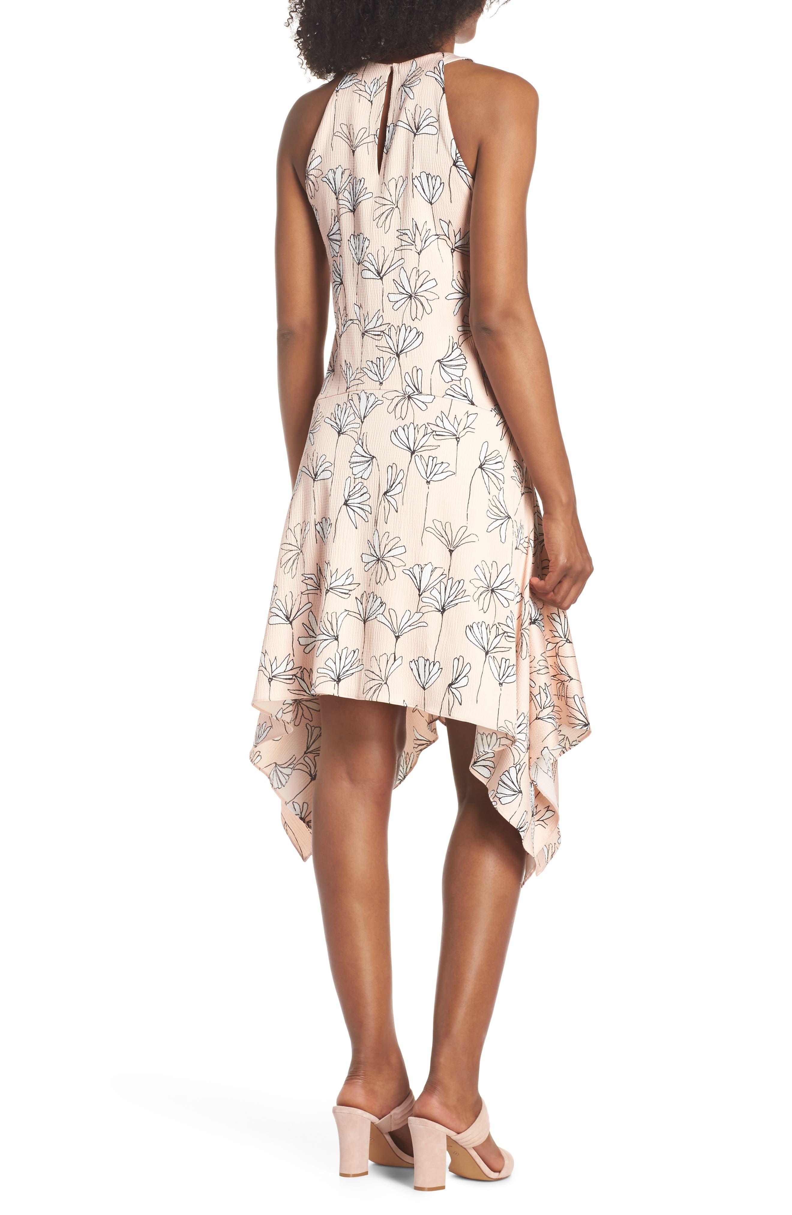 Printed Handkerchief Hem Dress,                             Alternate thumbnail 2, color,                             BLUSH/ SOFT WHITE