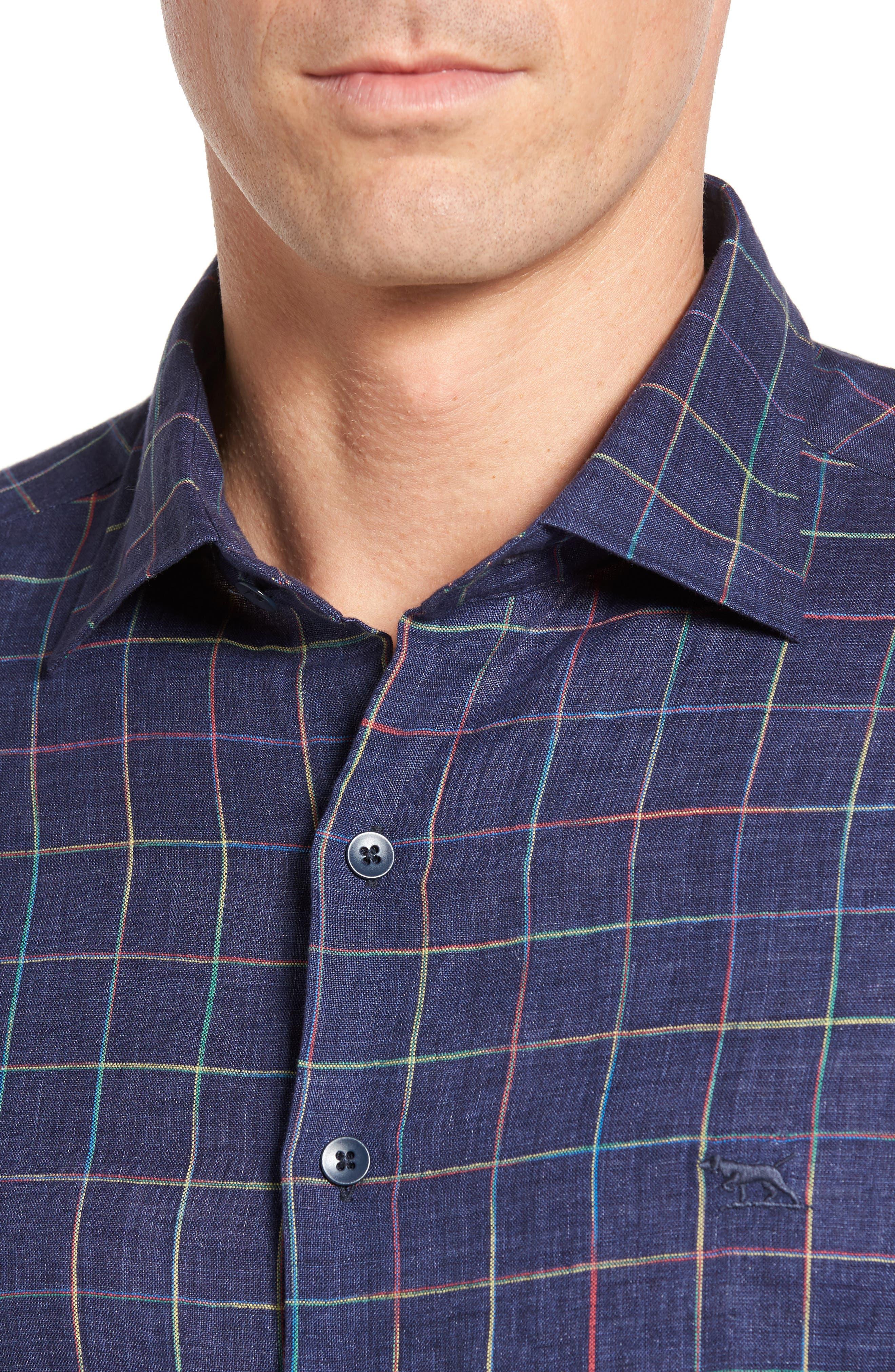 Savill Linen Blend Sport Shirt,                             Alternate thumbnail 4, color,                             410