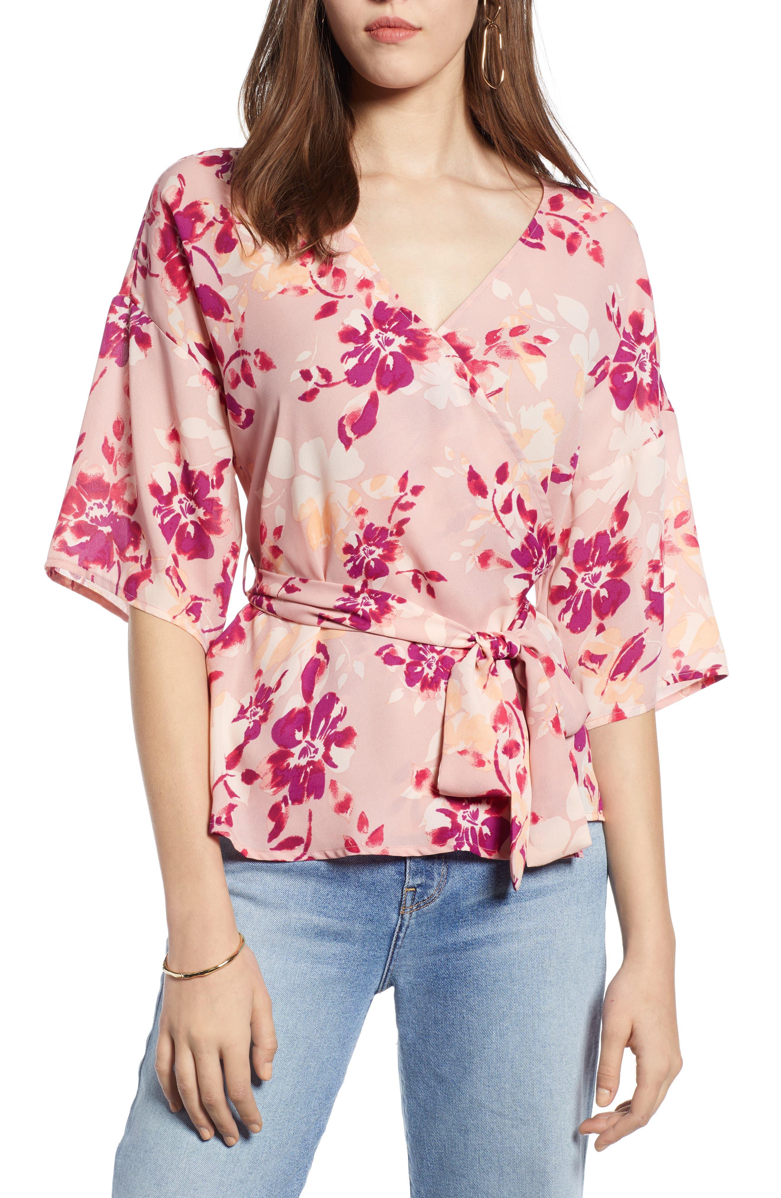 Vintage & Retro Shirts, Halter Tops, Blouses Womens Halogen Faux Wrap Top $59.00 AT vintagedancer.com