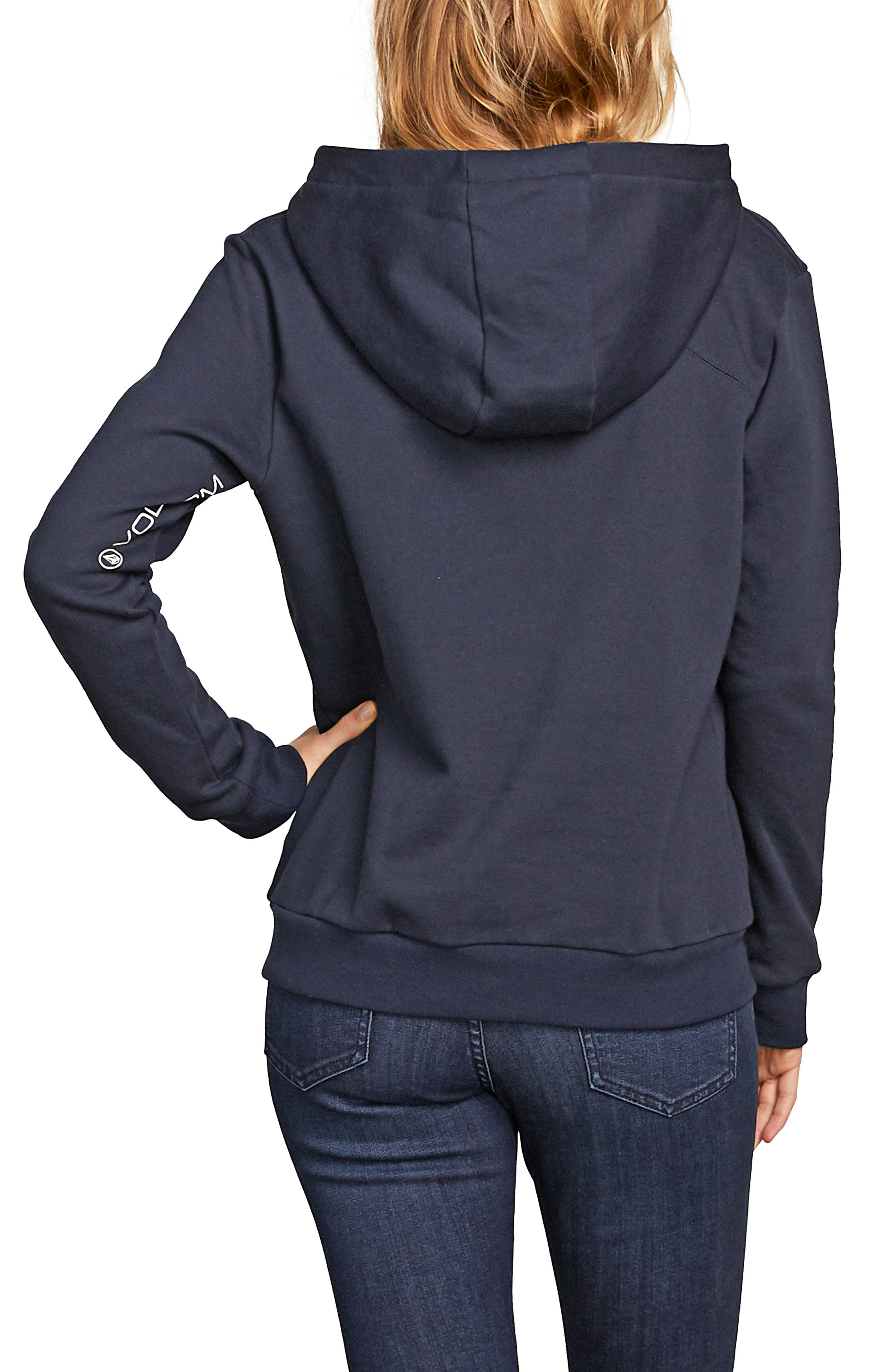Walk On By Funnel Neck Hoodie,                             Alternate thumbnail 2, color,                             SEA NAVY