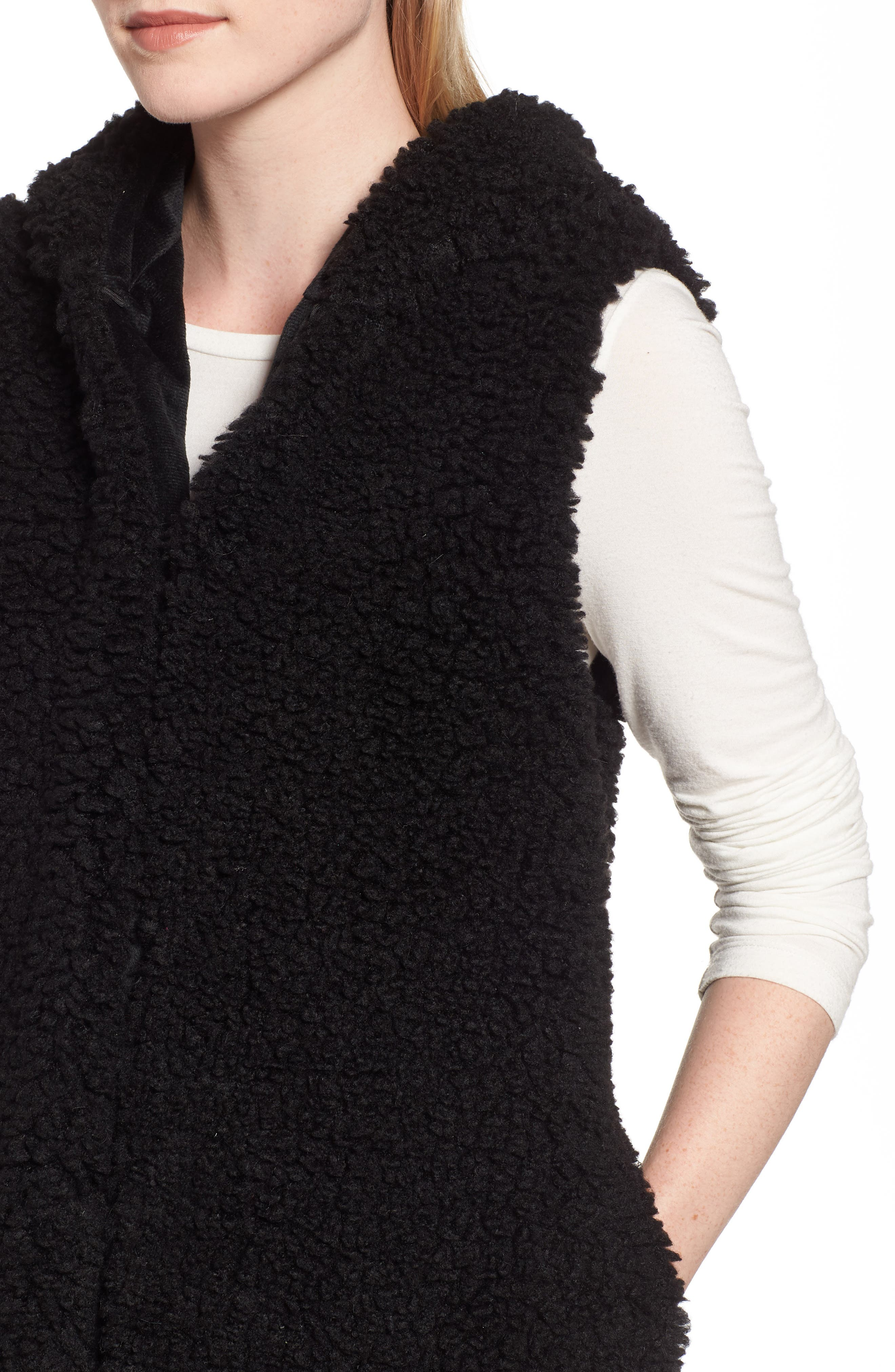 Faux Shearling Hooded Vest,                             Alternate thumbnail 4, color,                             BLACK