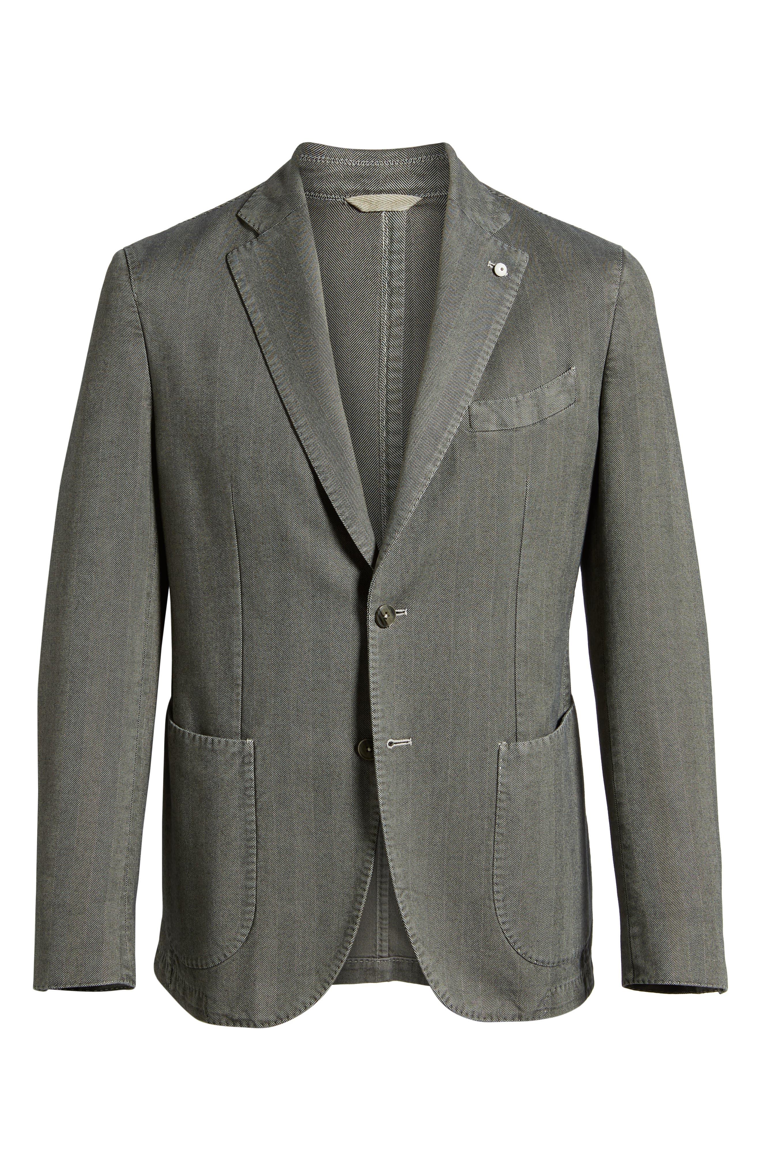 L.B.M 1911 Classic Fit Herringbone Cotton Sport Coat,                             Alternate thumbnail 5, color,                             TAUPE