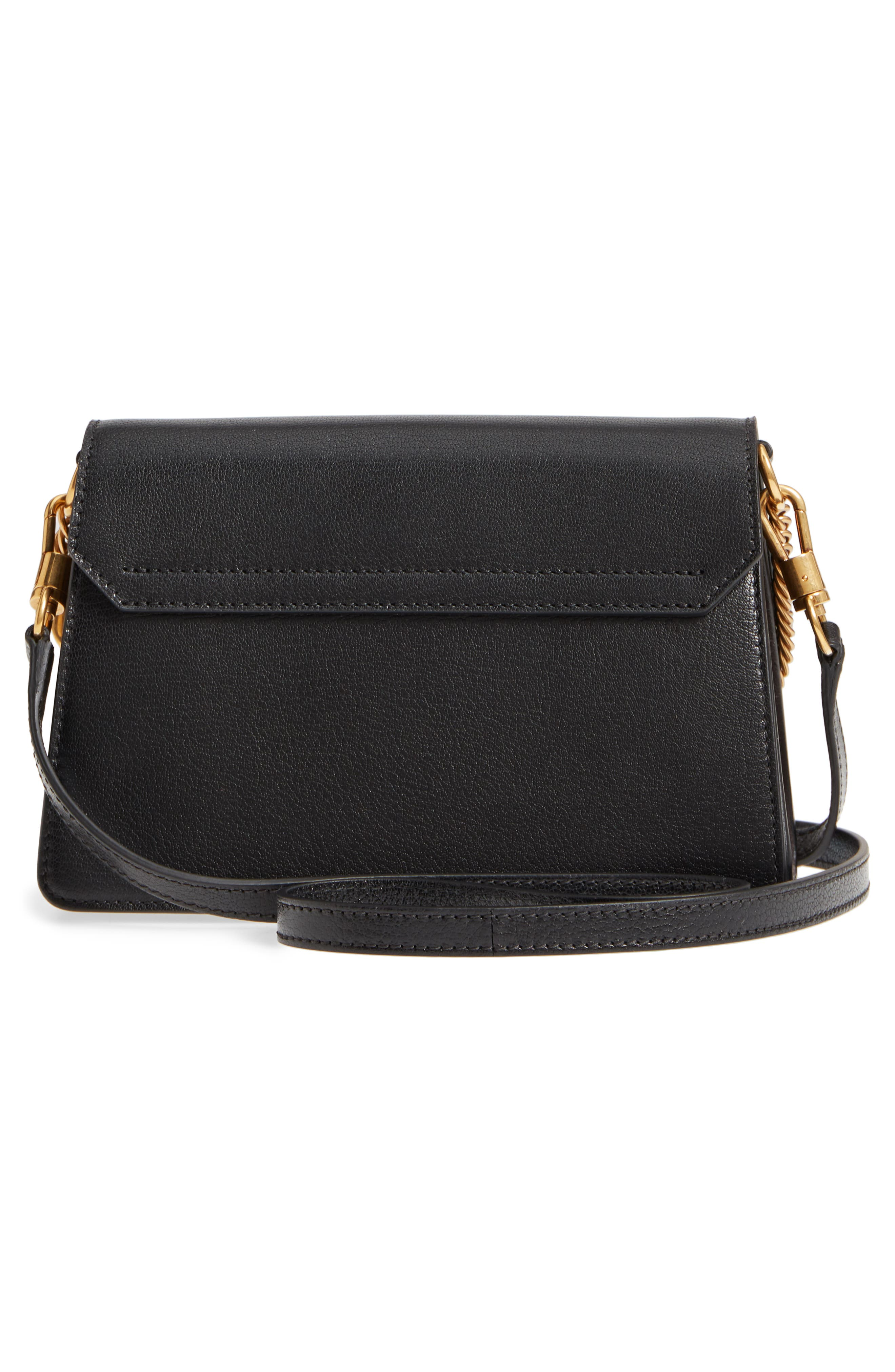 Small GV3 Leather & Suede Crossbody Bag,                             Alternate thumbnail 3, color,                             BLACK/ GREY