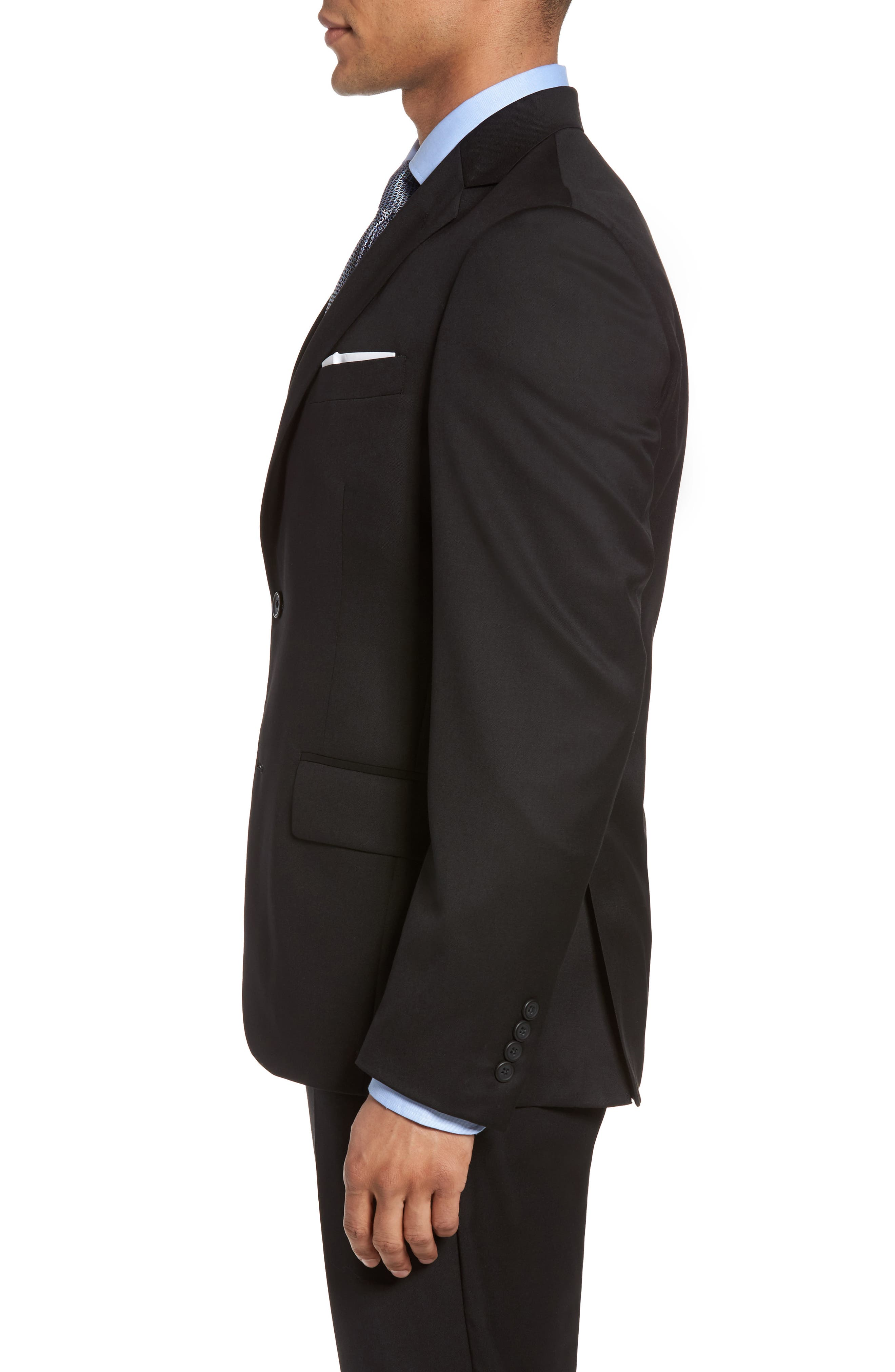 Classic Fit Solid Wool Blazer,                             Alternate thumbnail 3, color,                             001
