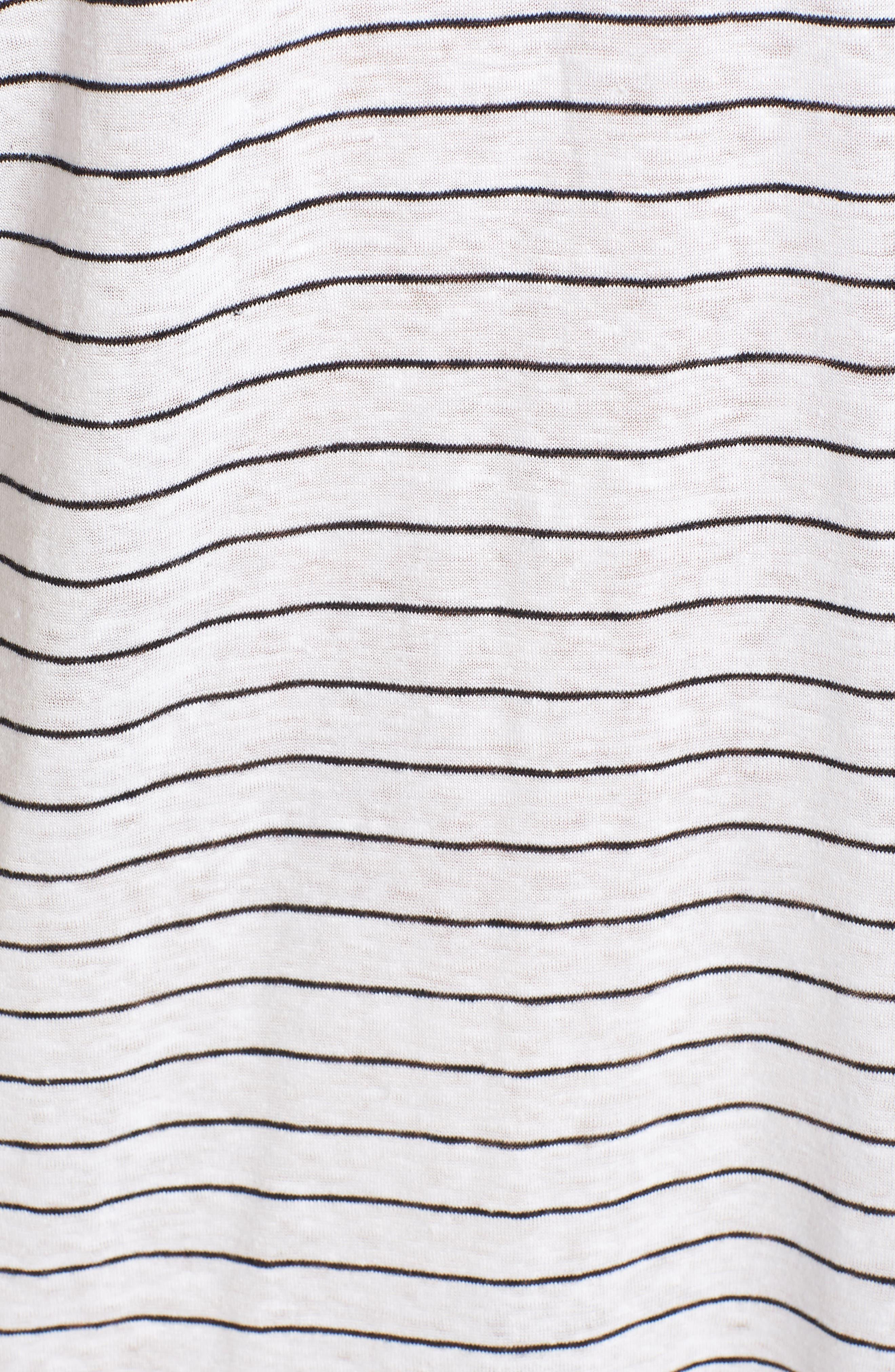 Stripe Organic Linen Shift Dress,                             Alternate thumbnail 6, color,                             120