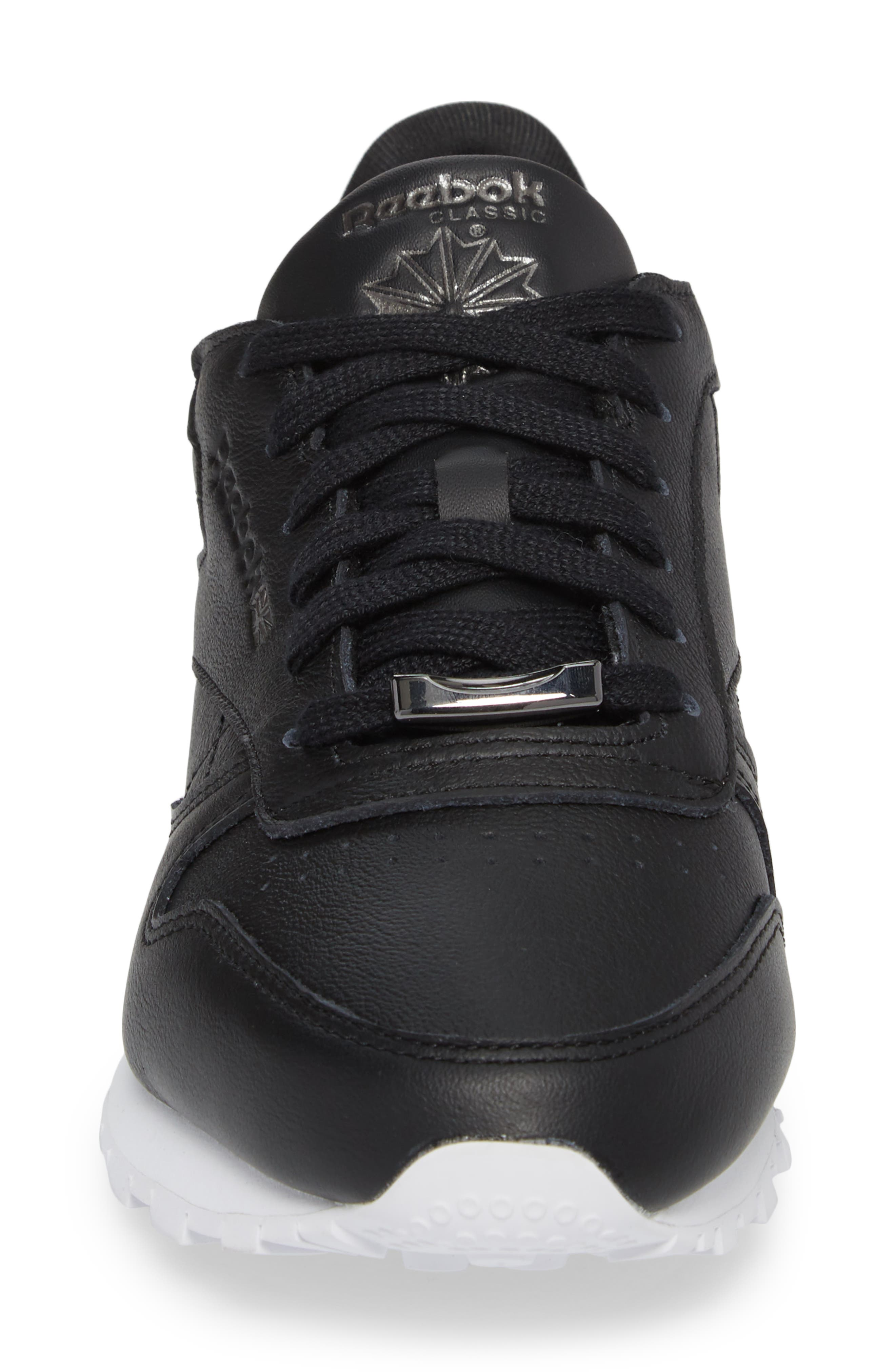 Classic Leather HW Sneaker,                             Alternate thumbnail 4, color,                             001