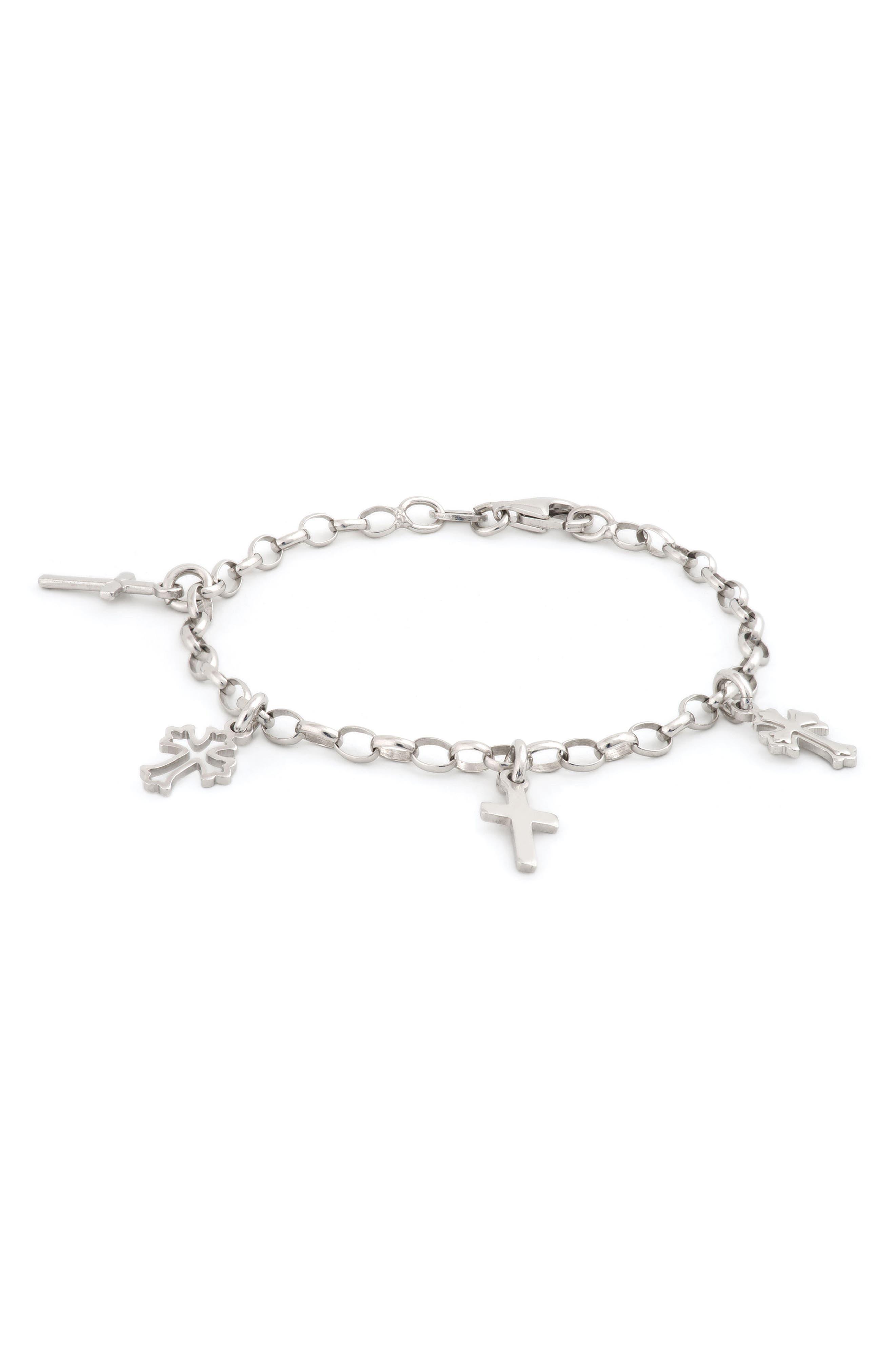 Sterling Silver Cross Bracelet,                             Main thumbnail 1, color,                             040