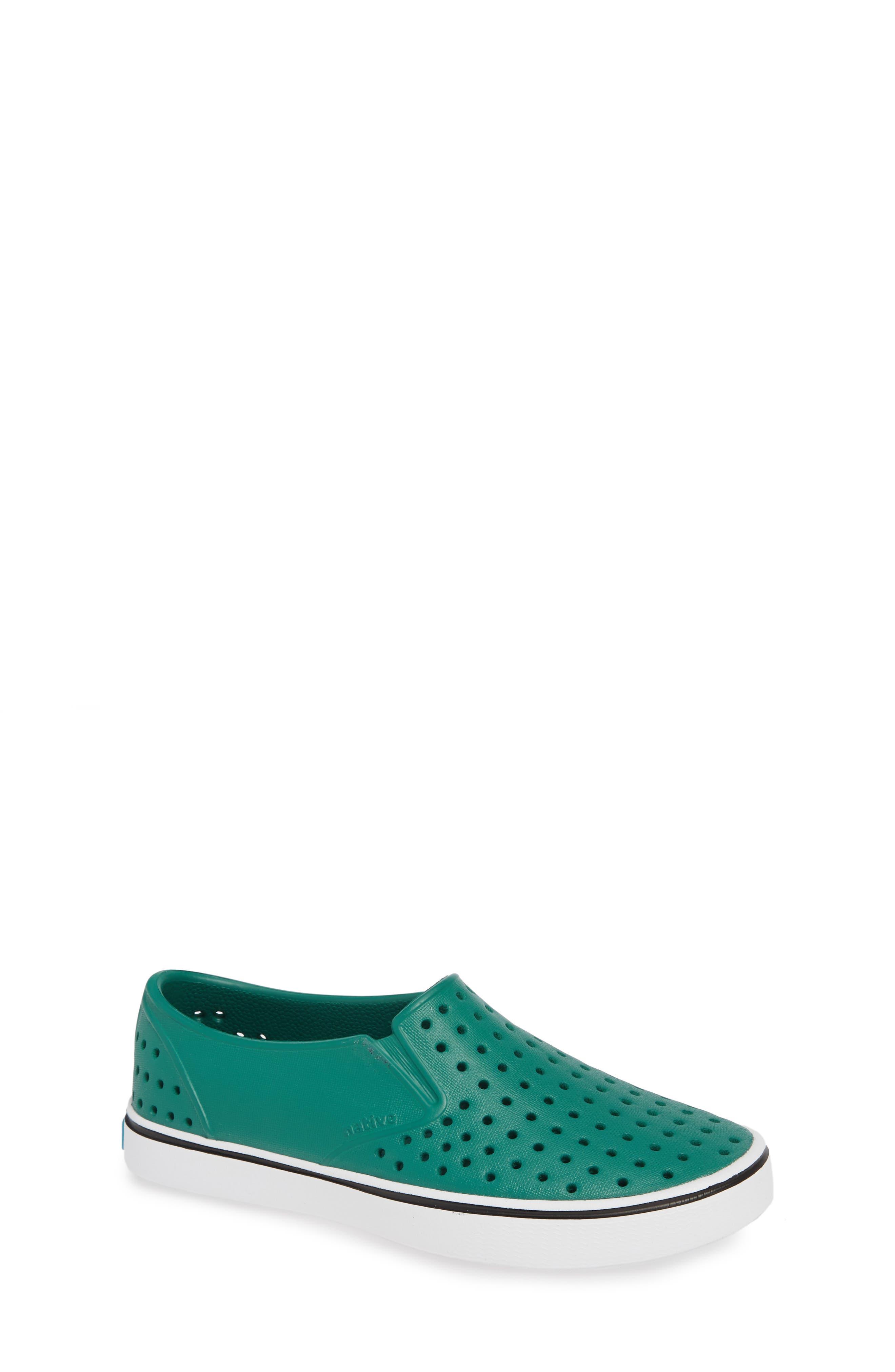 Miles Water Friendly Slip-On Vegan Sneaker,                         Main,                         color, EVERGREEN/ SHELL WHITE