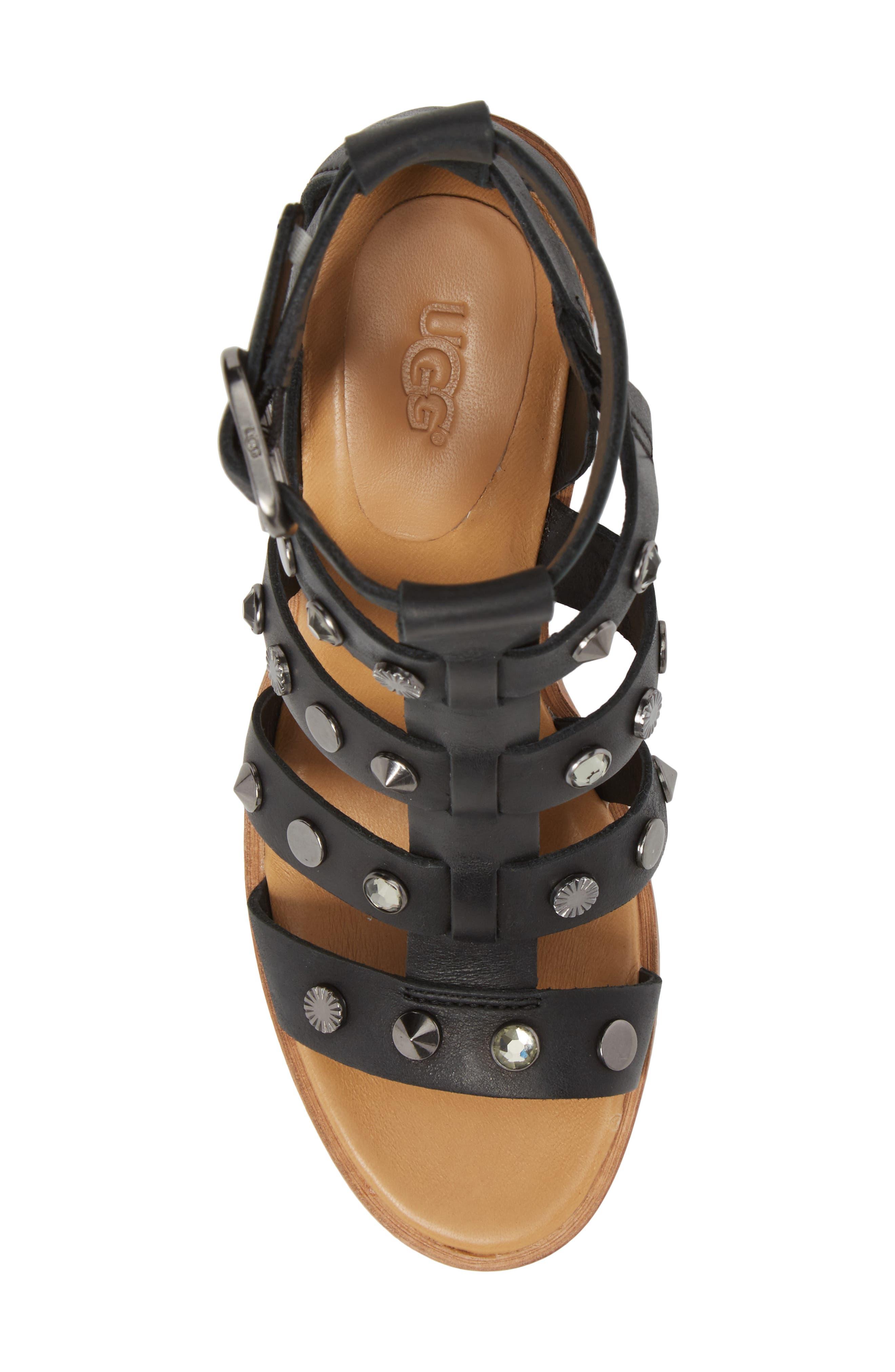 Macayla Studded Sandal,                             Alternate thumbnail 5, color,                             BLACK LEATHER
