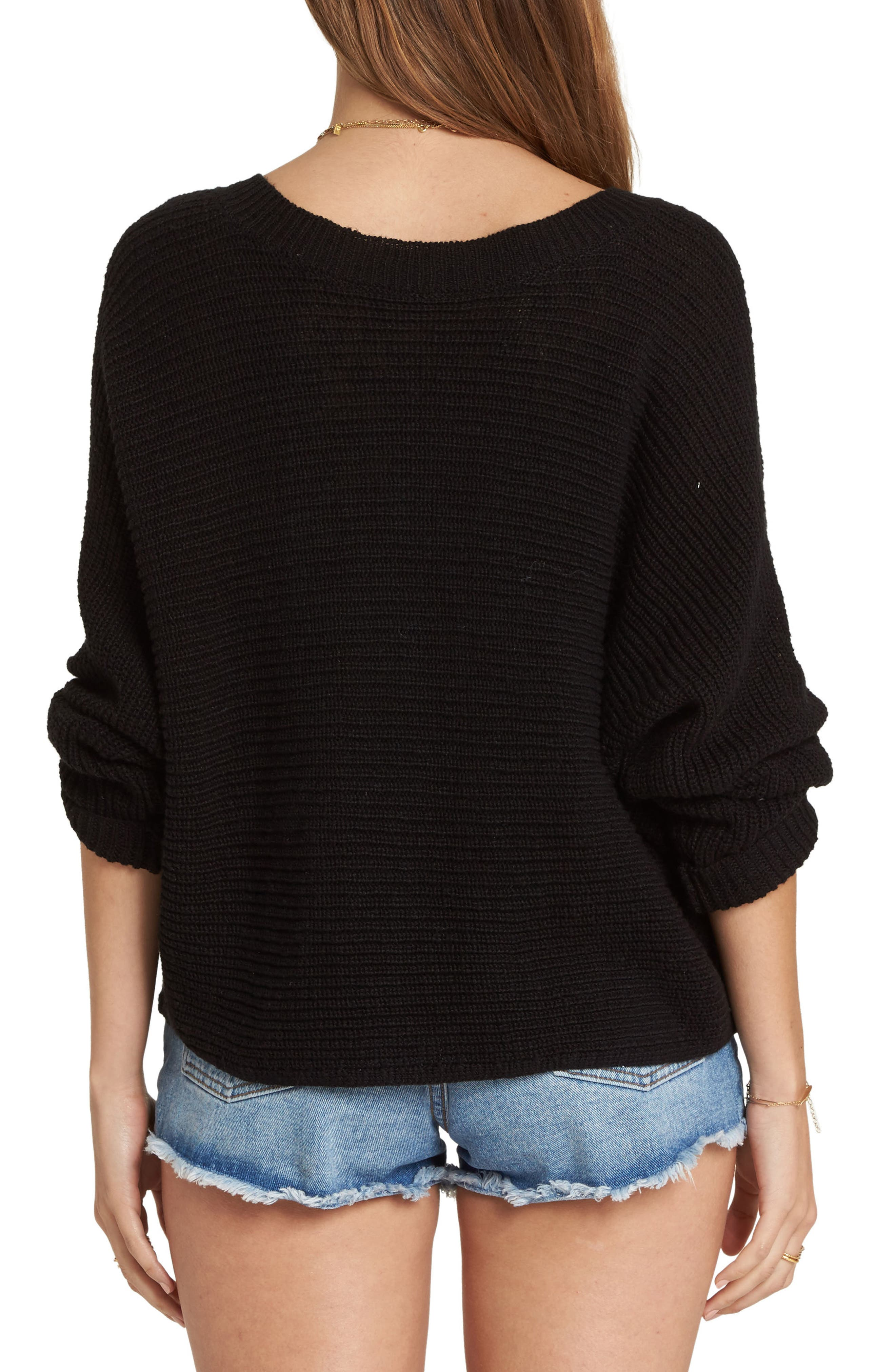 Lace-Up Sweater,                             Alternate thumbnail 2, color,                             001