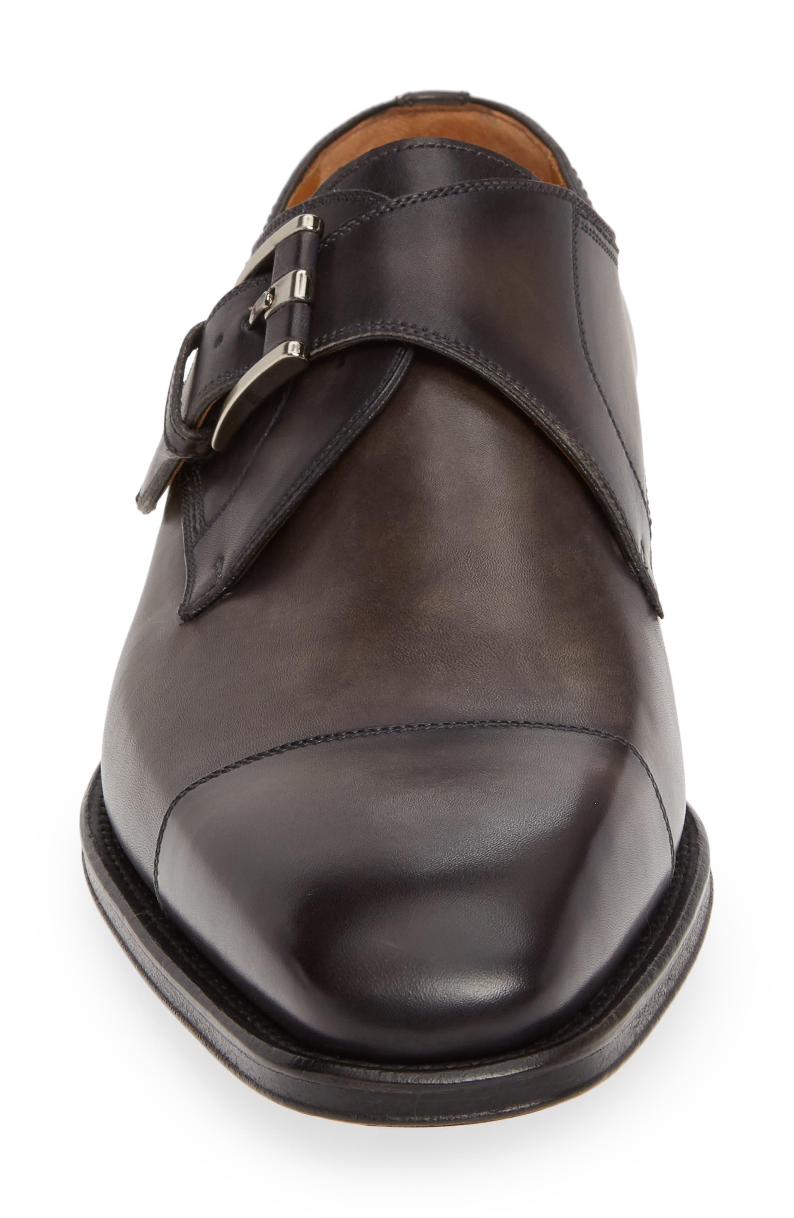 MAGNANNI,                             Lennon Monk Strap Shoe,                             Alternate thumbnail 4, color,                             GREY LEATHER