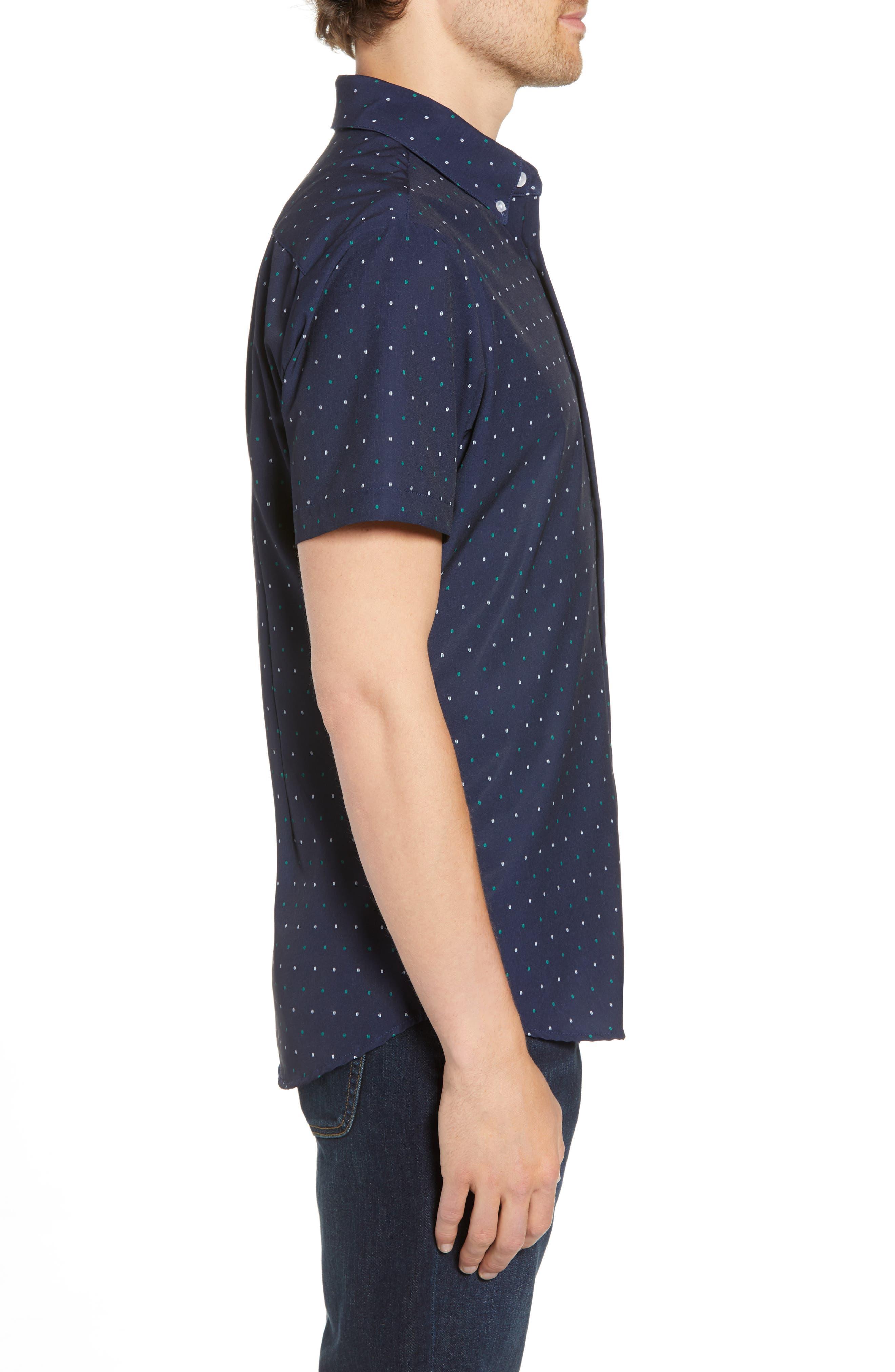 Jameson Regular Fit Dot Performance Sport Shirt,                             Alternate thumbnail 3, color,                             BLUE