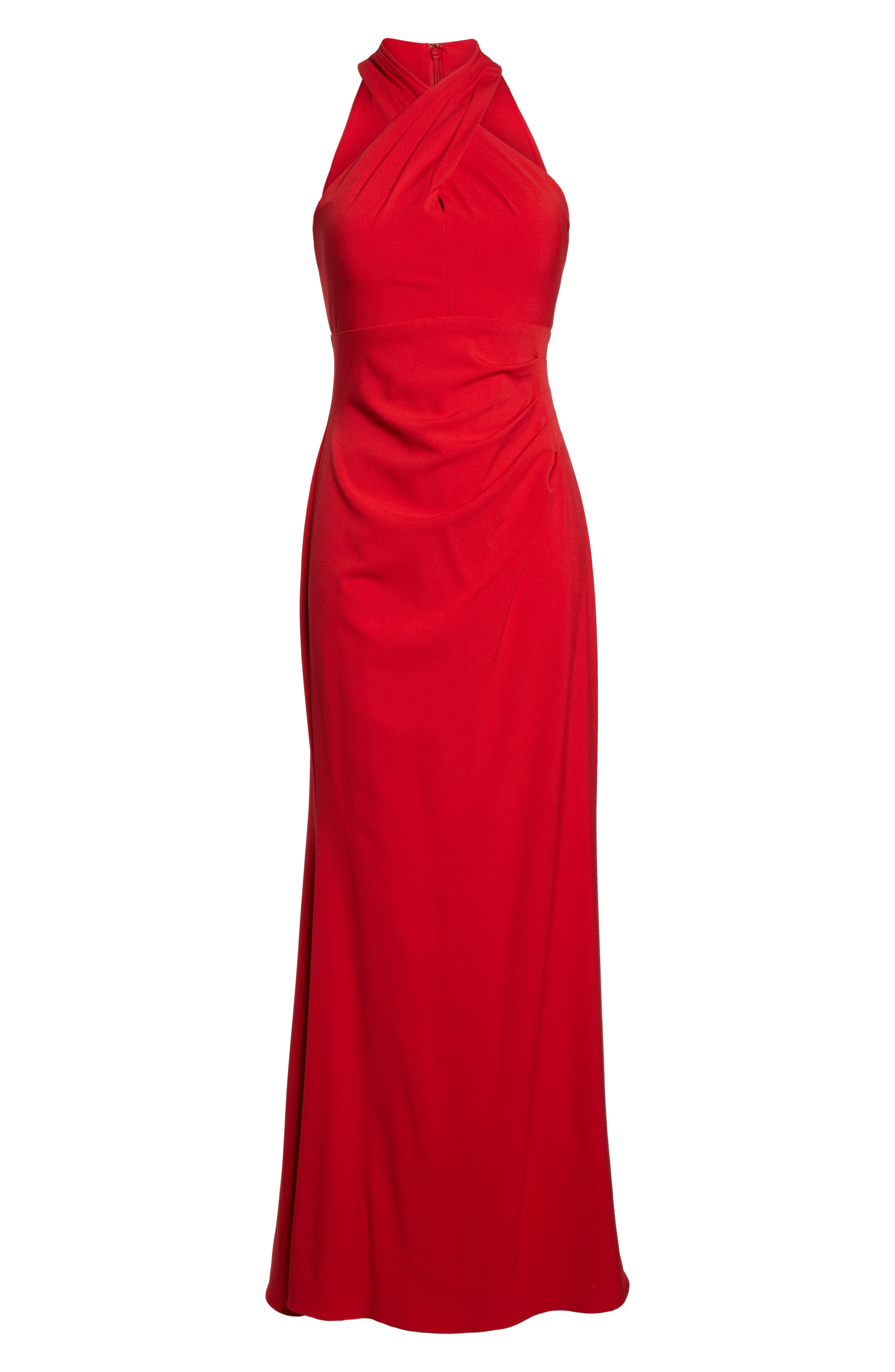 Side Pleat Crossneck Gown,                             Alternate thumbnail 7, color,                             RED