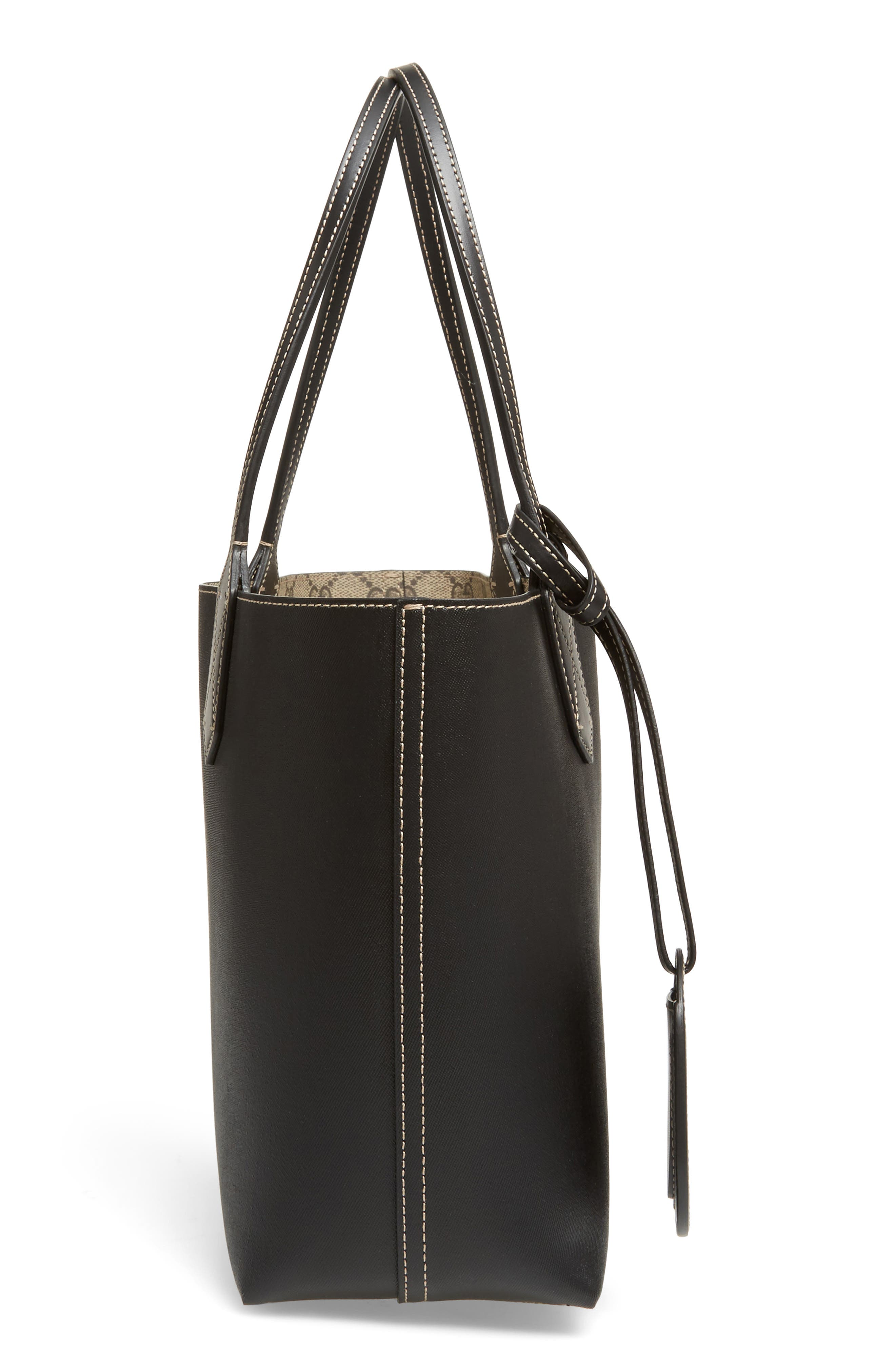 Small Turnaround Reversible Leather Tote,                             Alternate thumbnail 6, color,                             BEIGE EBONY/BLK