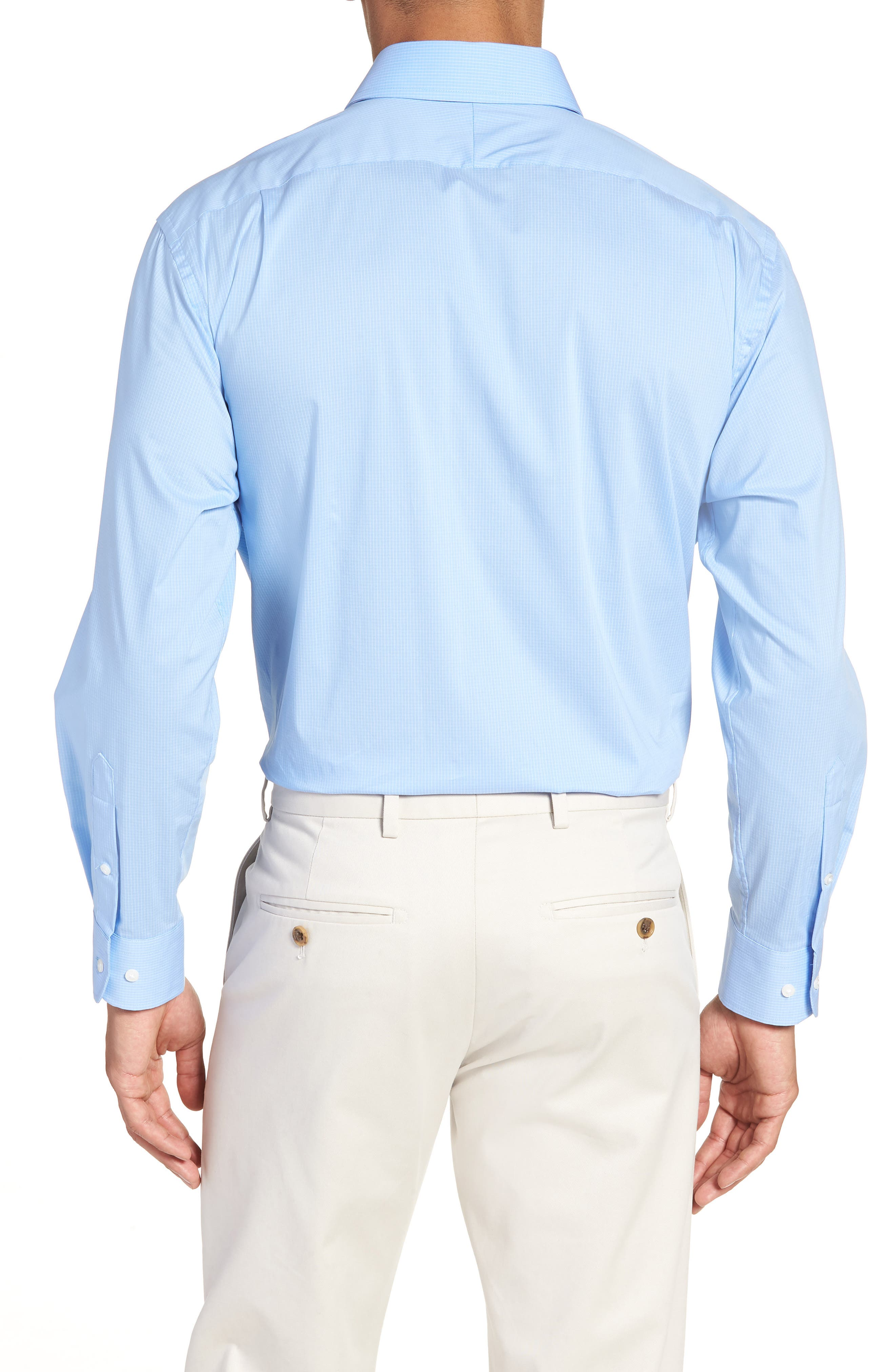 Traditional Fit Stretch Check Dress Shirt,                             Alternate thumbnail 6, color,