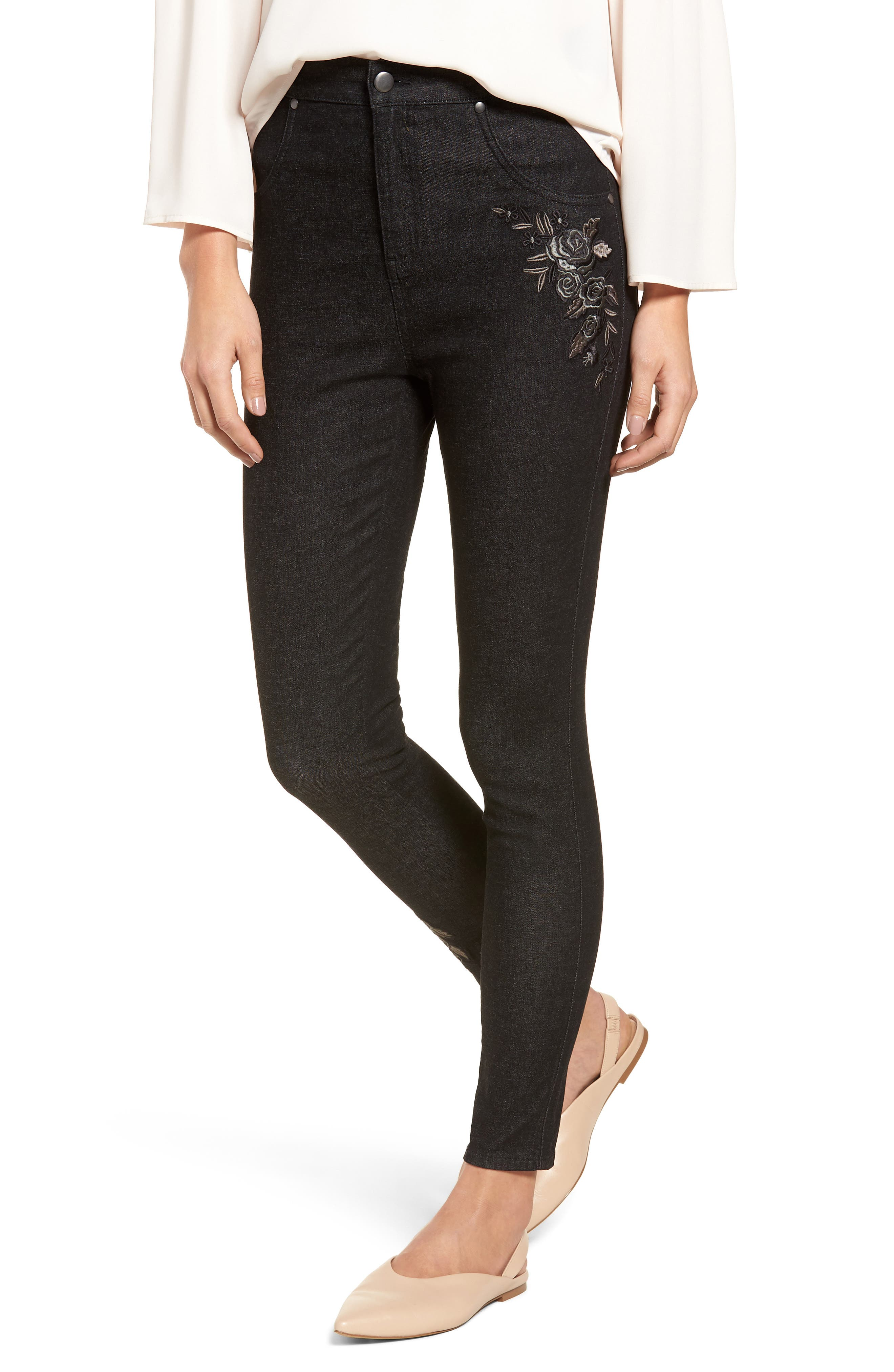 Embroidered Crop Denim Leggings,                         Main,                         color, BLACK