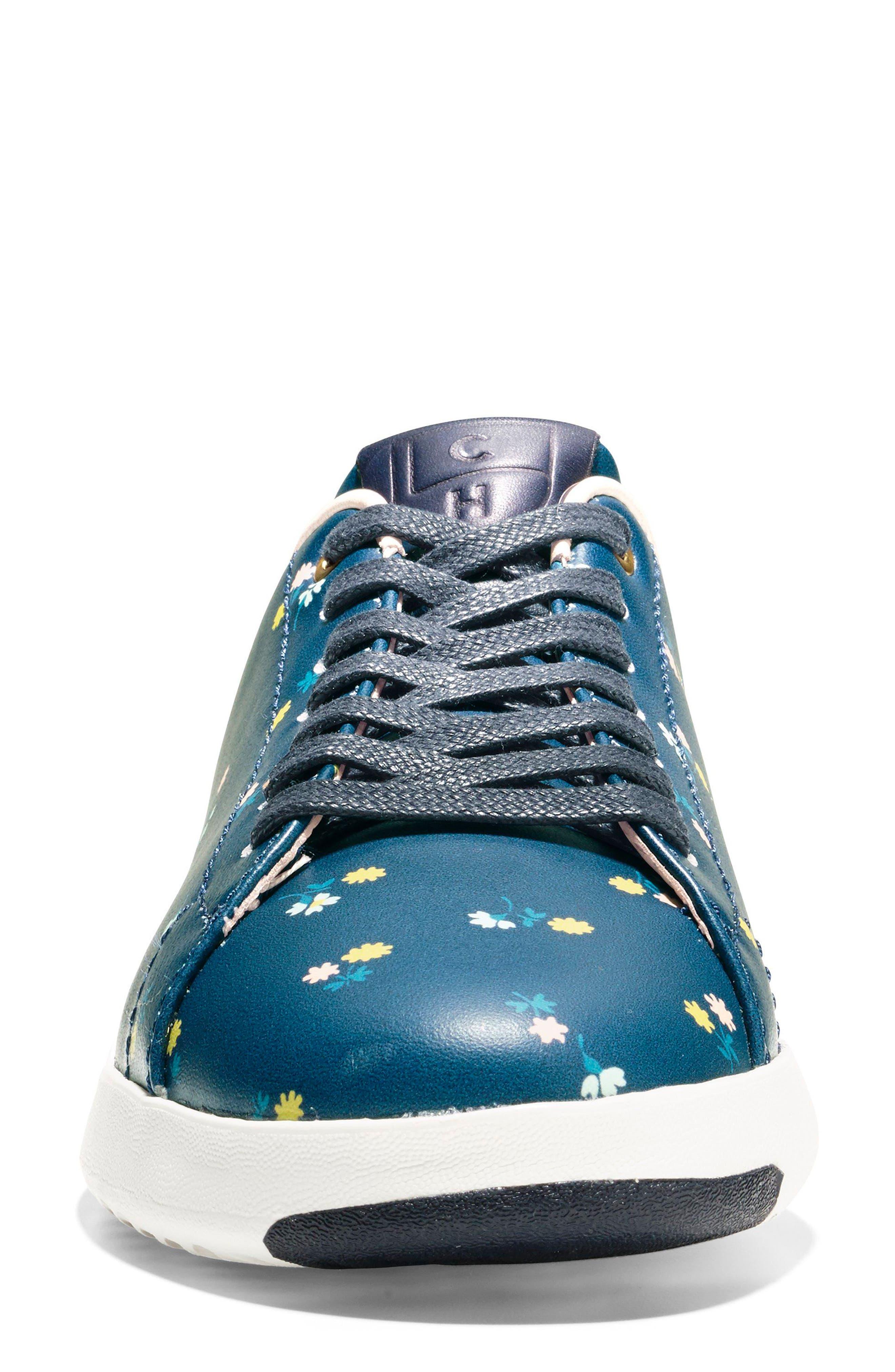 GrandPro Tennis Shoe,                             Alternate thumbnail 4, color,                             NAVY FLORAL LEATHER