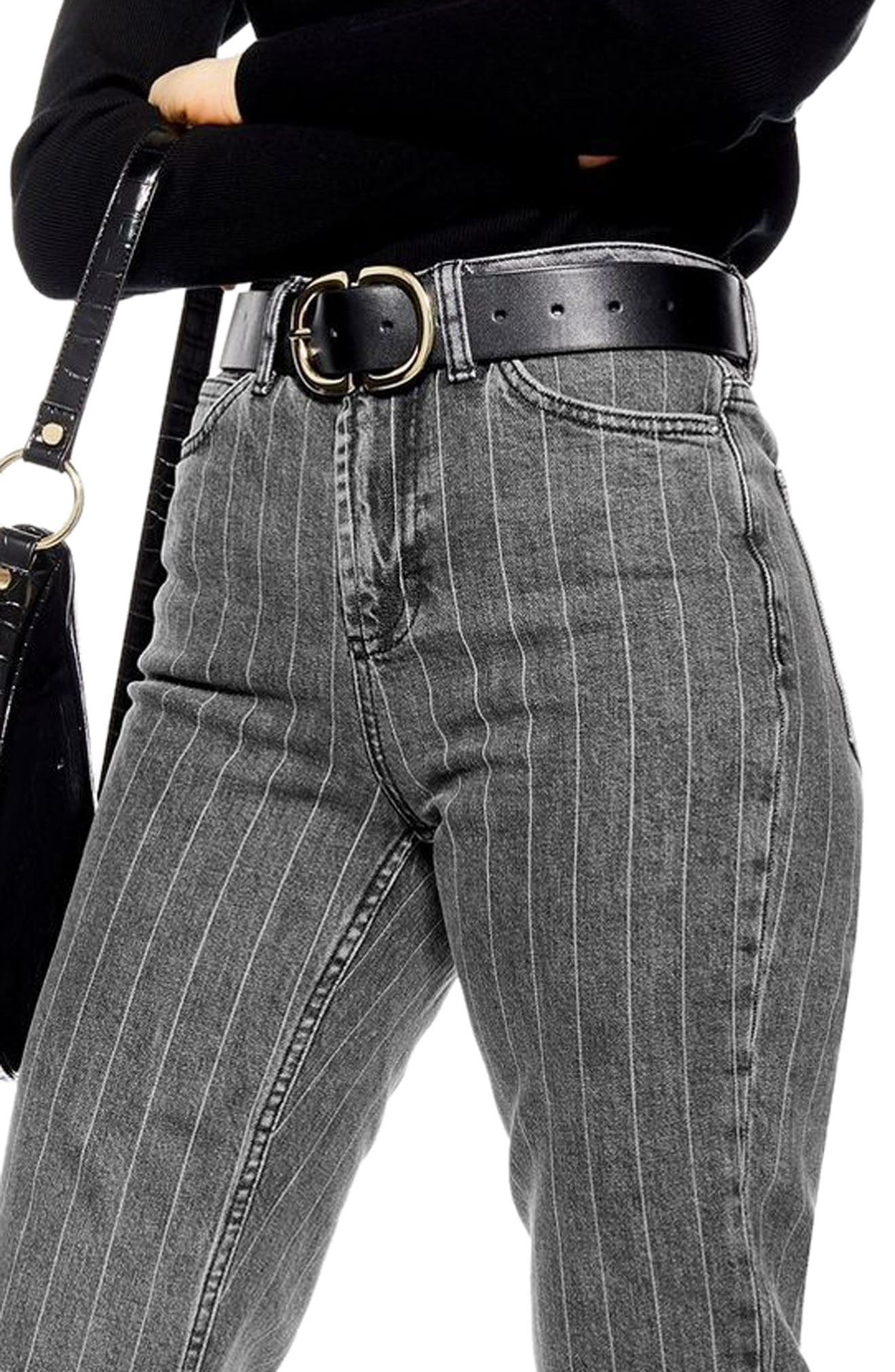 High Waist Pinstripe Jeans,                             Alternate thumbnail 3, color,                             WASHED BLACK