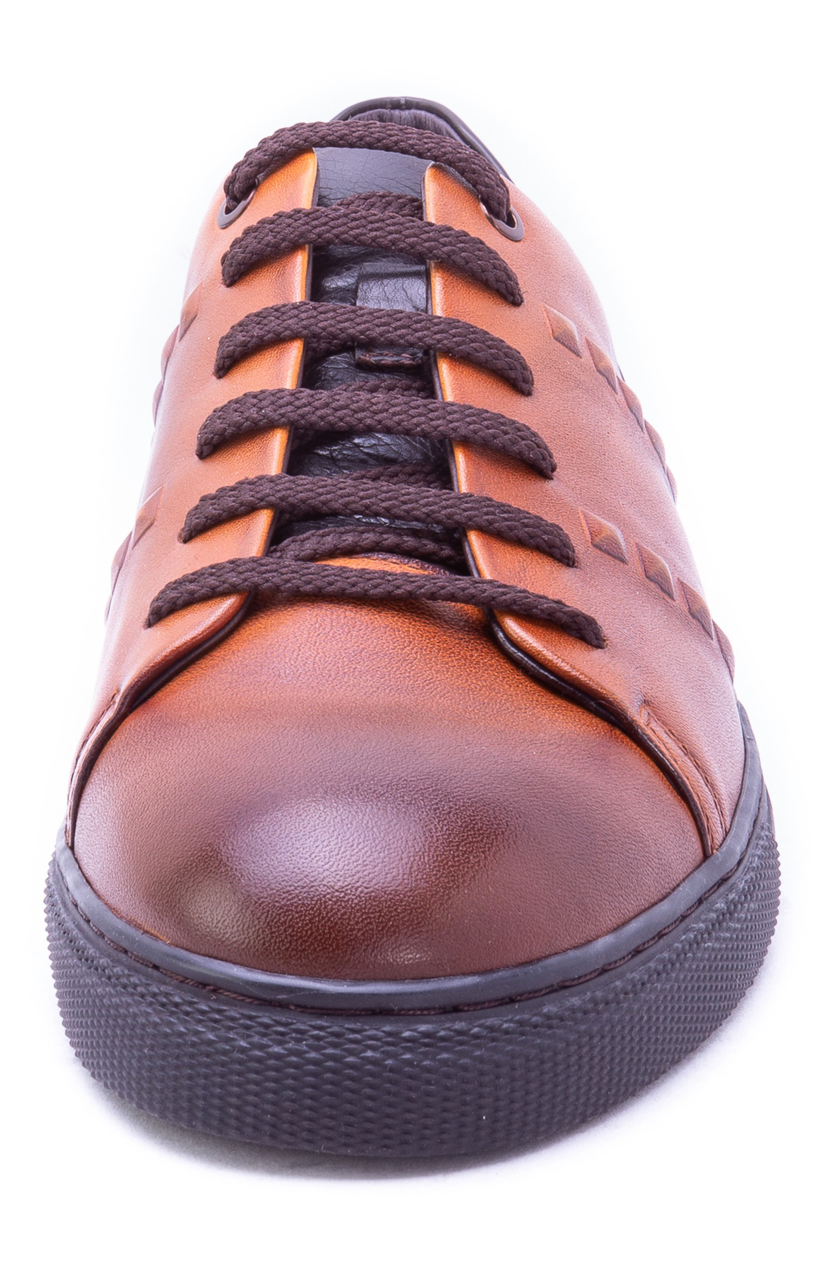 Strozzi Studded Sneaker,                             Alternate thumbnail 4, color,                             COGNAC LEATHER