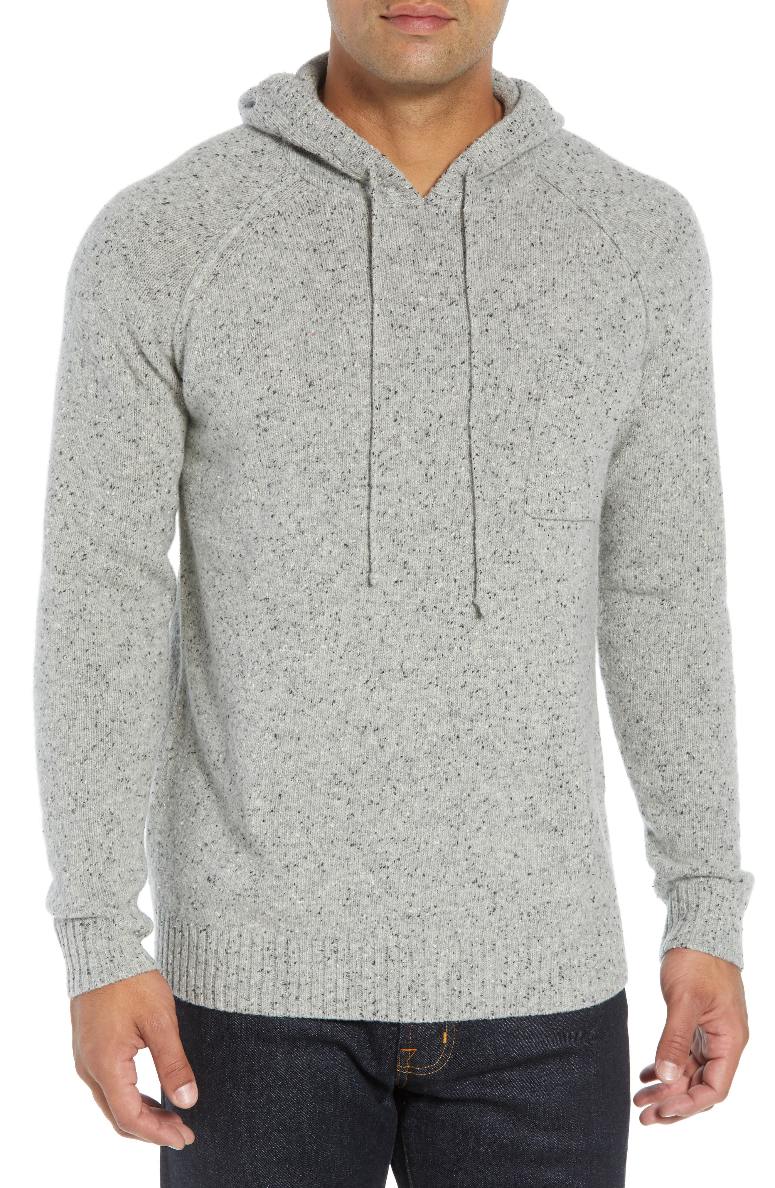 Rule 93 Donegal Regular Fit Hooded Sweater,                             Main thumbnail 1, color,                             GREY