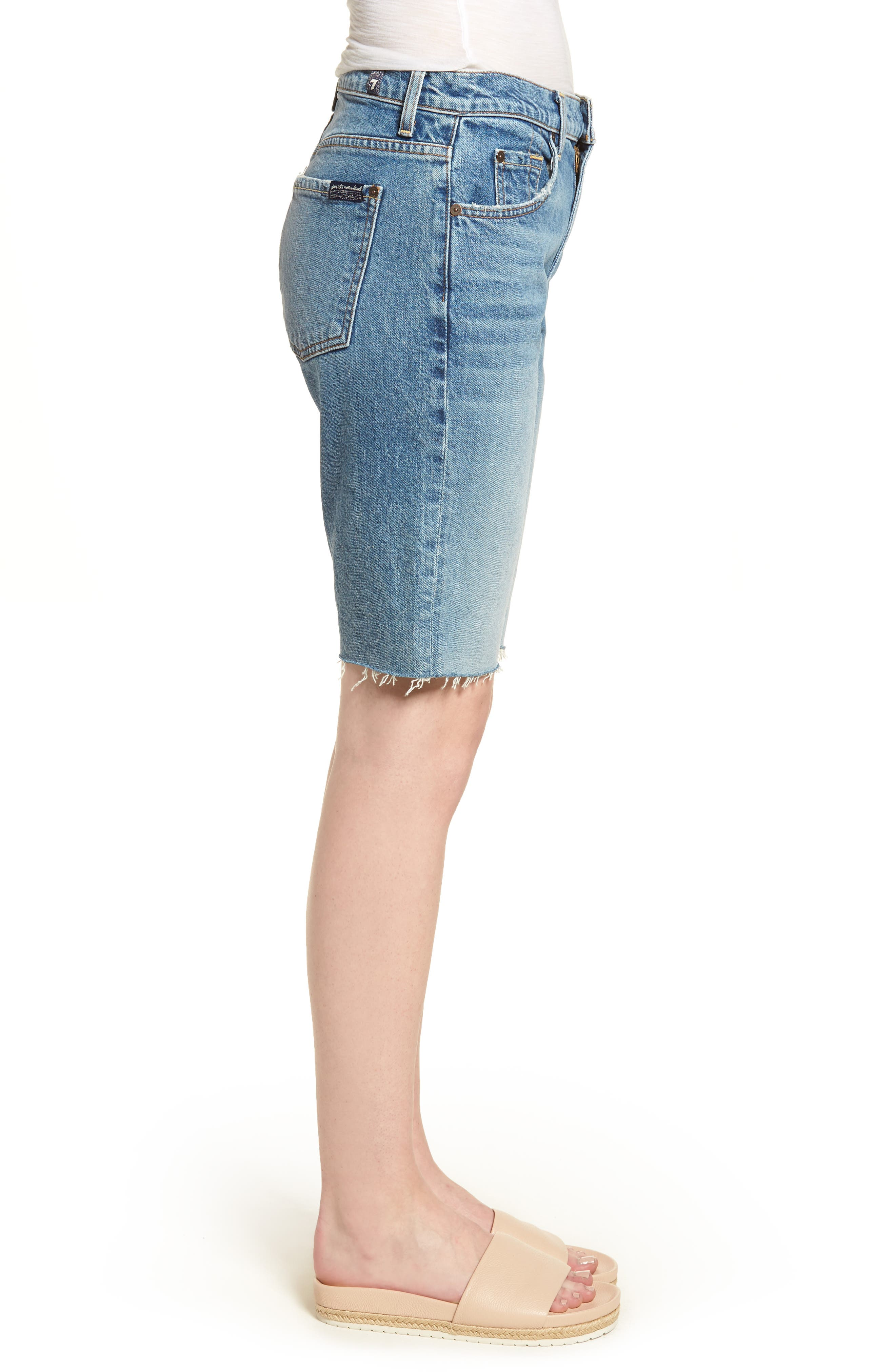 High Waist Denim Bermuda Shorts,                             Alternate thumbnail 3, color,                             402
