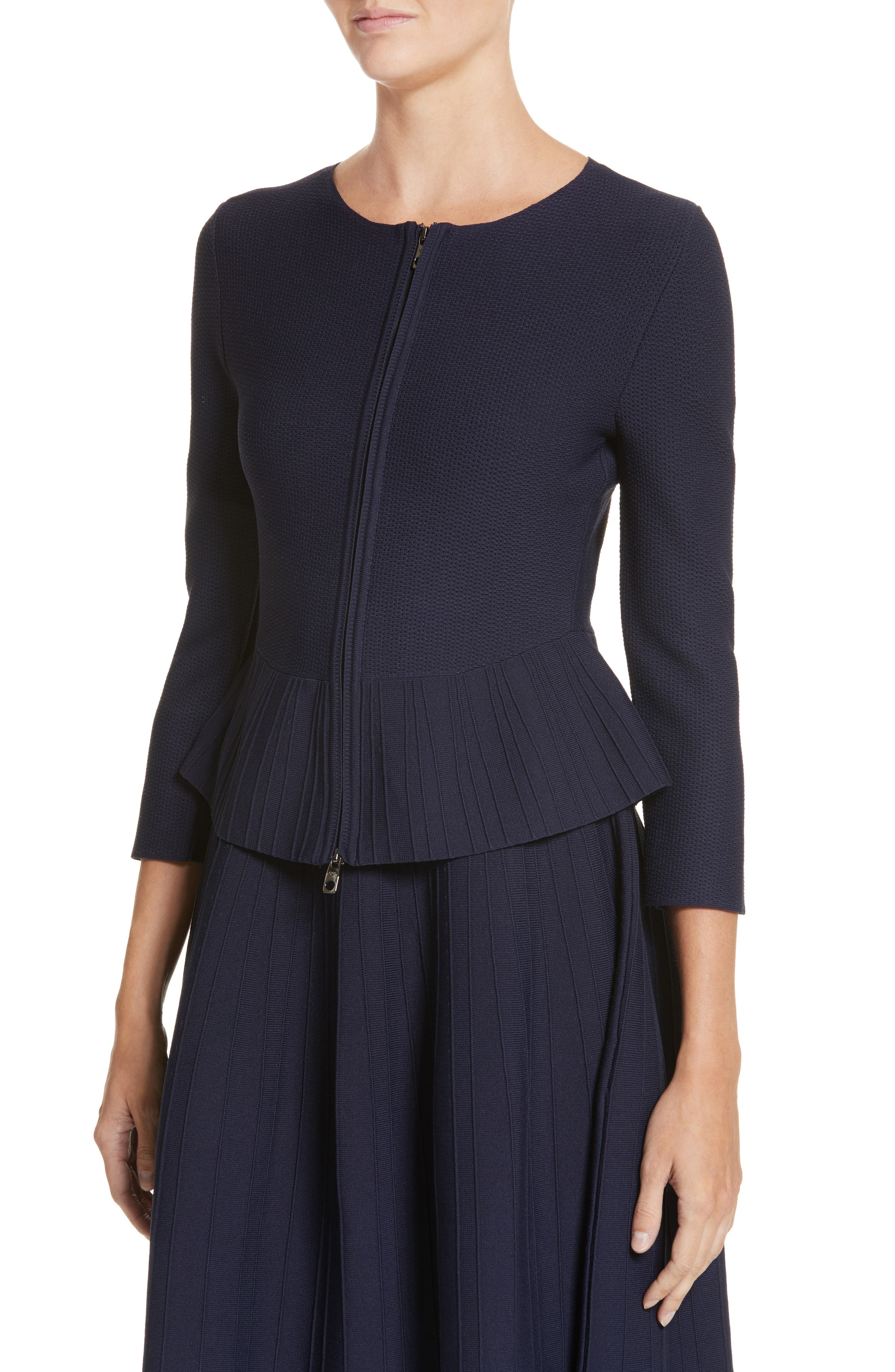 Zip Front Peplum Knit Jacket,                             Alternate thumbnail 4, color,