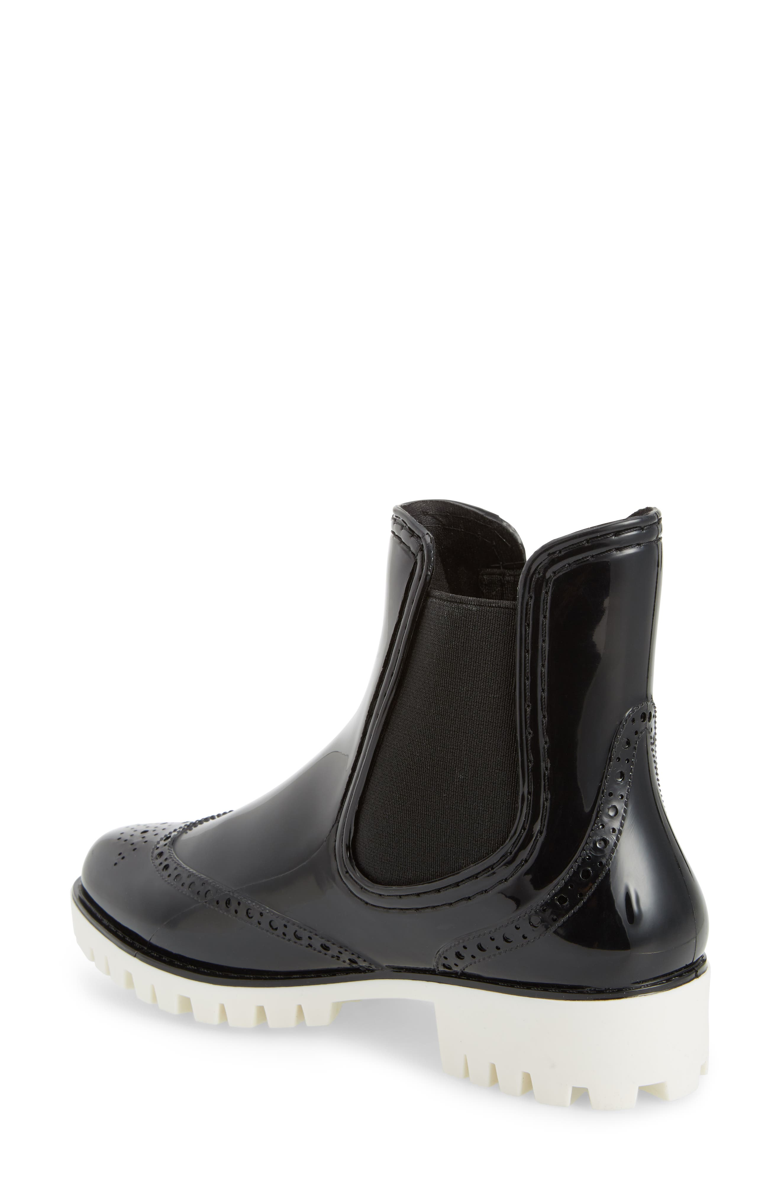 Leeds Brogue Rain Boot,                             Alternate thumbnail 2, color,                             BLACK