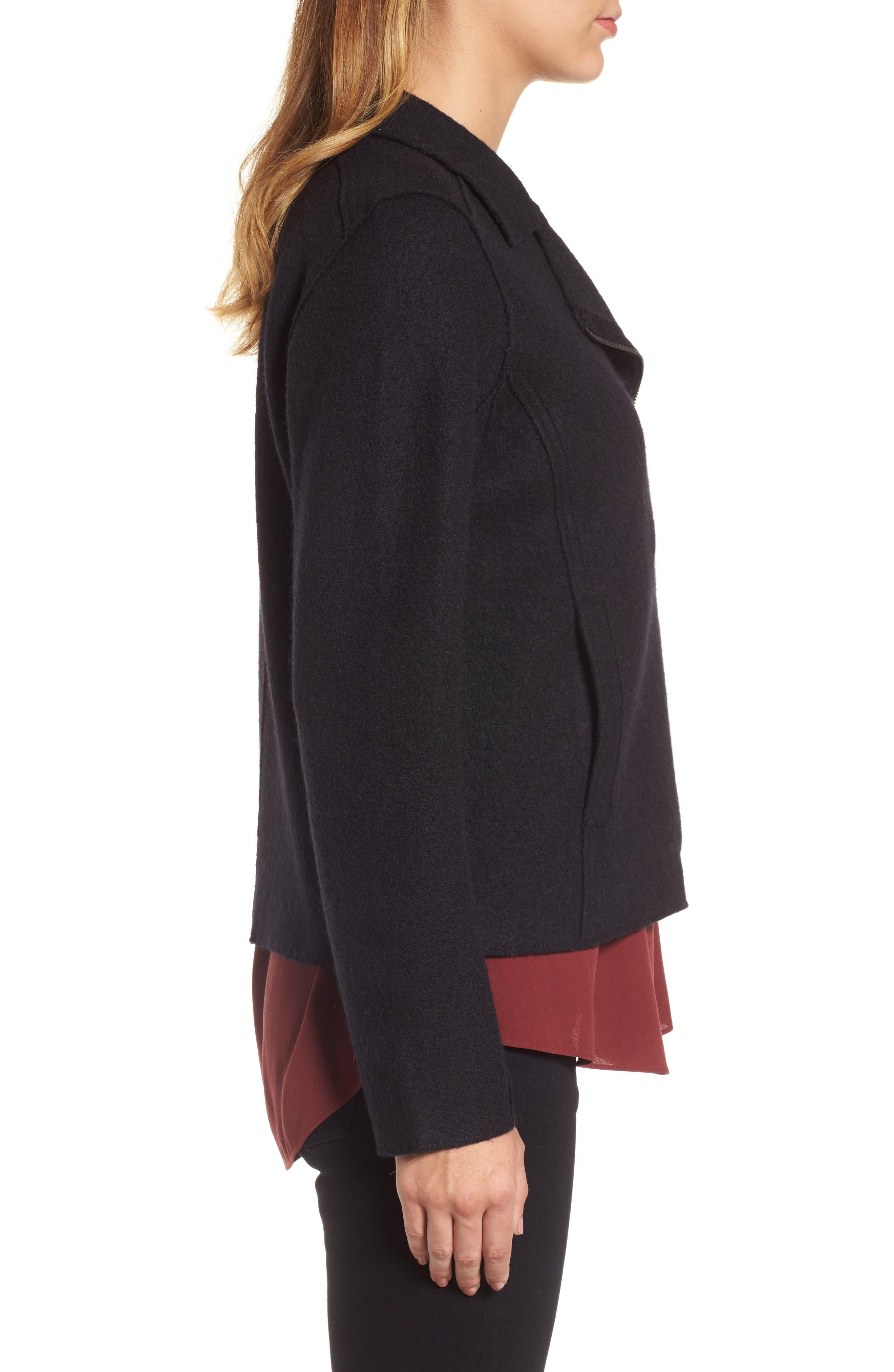 Boiled Wool Moto Jacket,                             Alternate thumbnail 9, color,