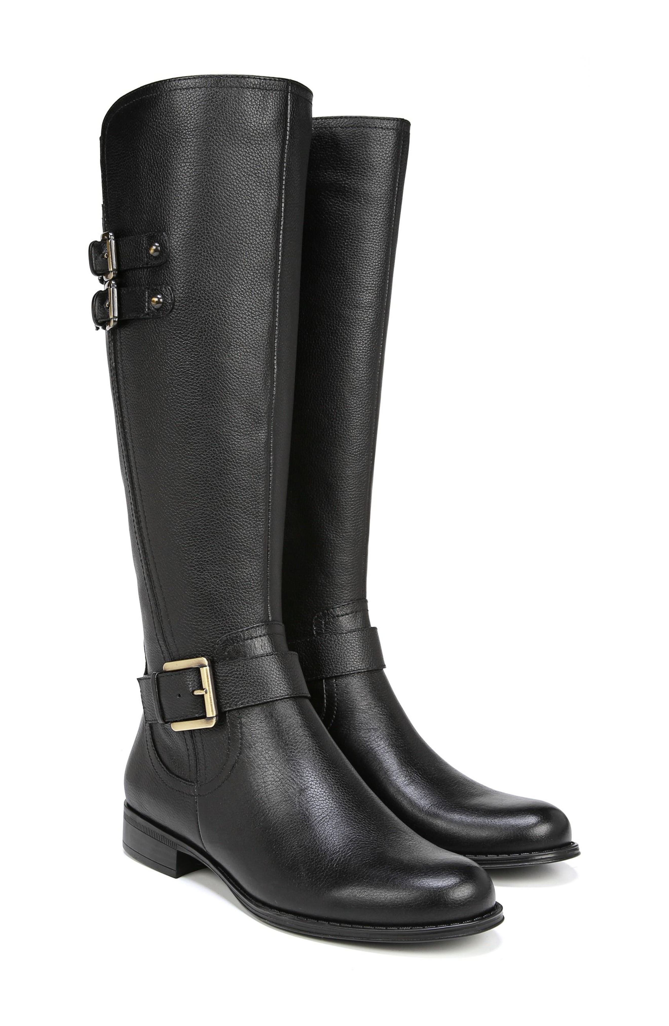 Jessie Knee High Riding Boot,                             Alternate thumbnail 9, color,                             BLACK LEATHER
